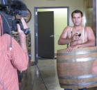 T.V. guys will go to any length to commit serious Journalism, from standing outside in hurricanes to this gent, who took off his shirt and strapped into a barrel for a story on the just-opened Cascade Barrel House several years ago. My mind is still boggling... (FoystonFoto)