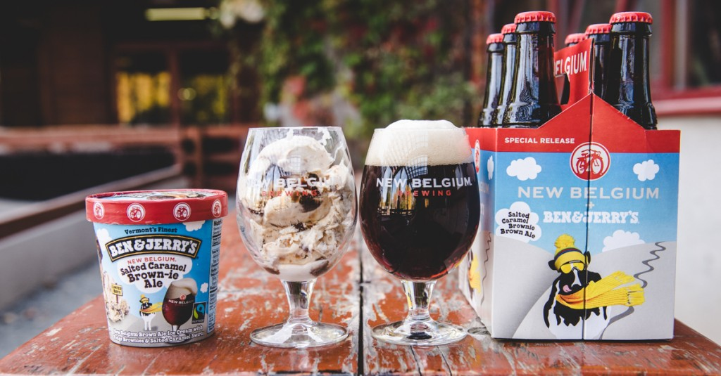 New Belgium Salted Caramel Brownie Brown Ale & Ben & Jerry's Ice Cream, the Perfect Pair