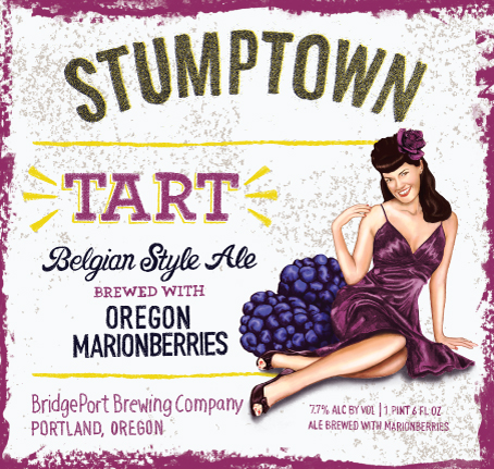 STUMPTOWN Tart Belgian Style Ale is Brewed with Willamette Valley Marionberries Label (photo courtesy of BridgePort Brewing)