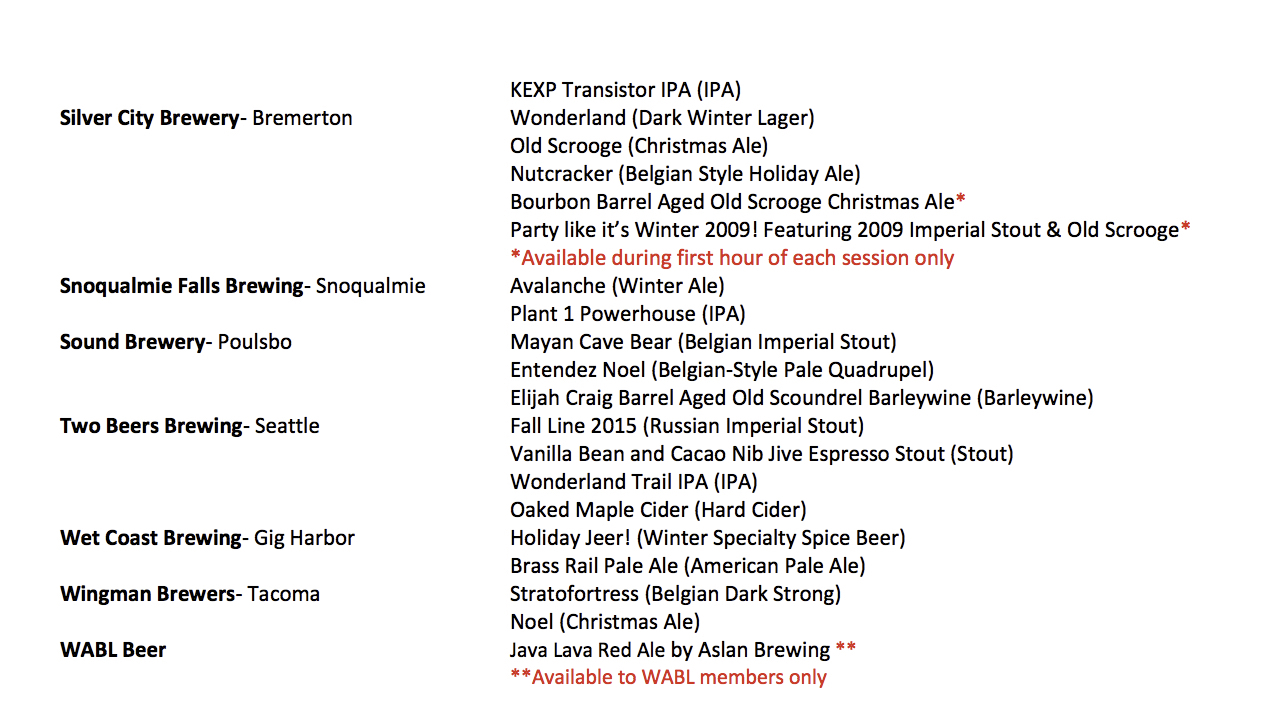 2015 Washington Winter Beer Festival Beer List (Part 4)