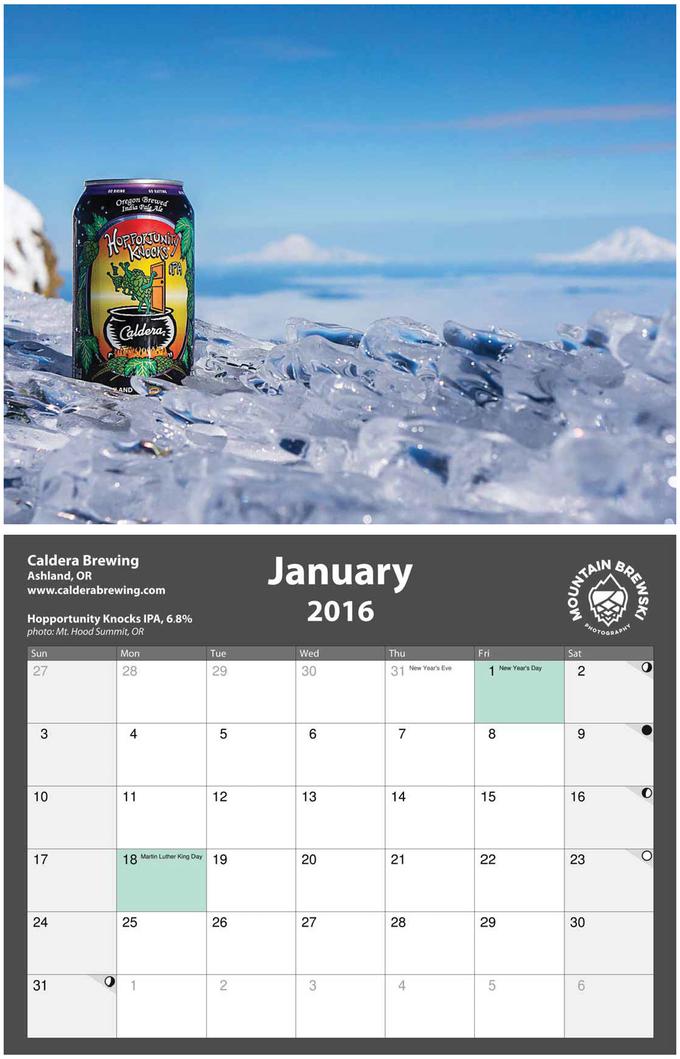 2016 Oregon Beer Calendar Month of January by Matt Mioduszewski