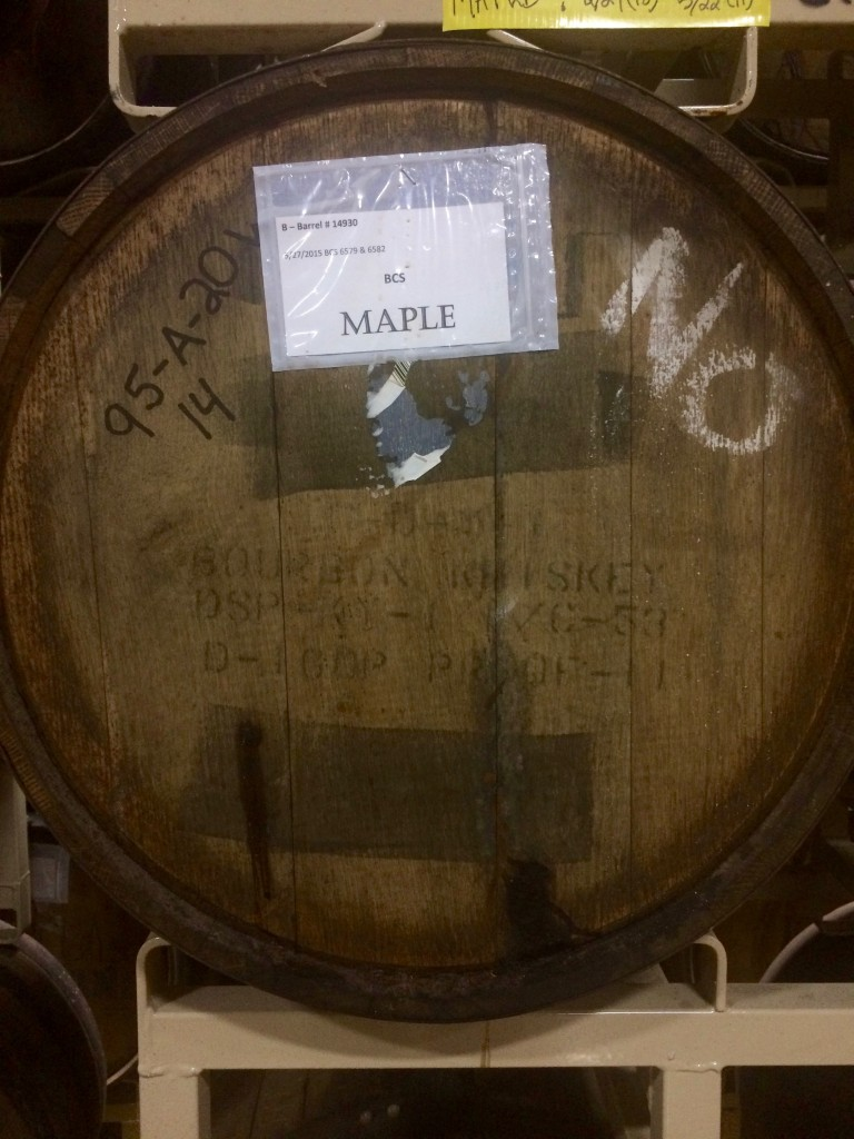A barrel aging a future Maple release for Goose Island BCBS at Goose Island Barrel Warehouse