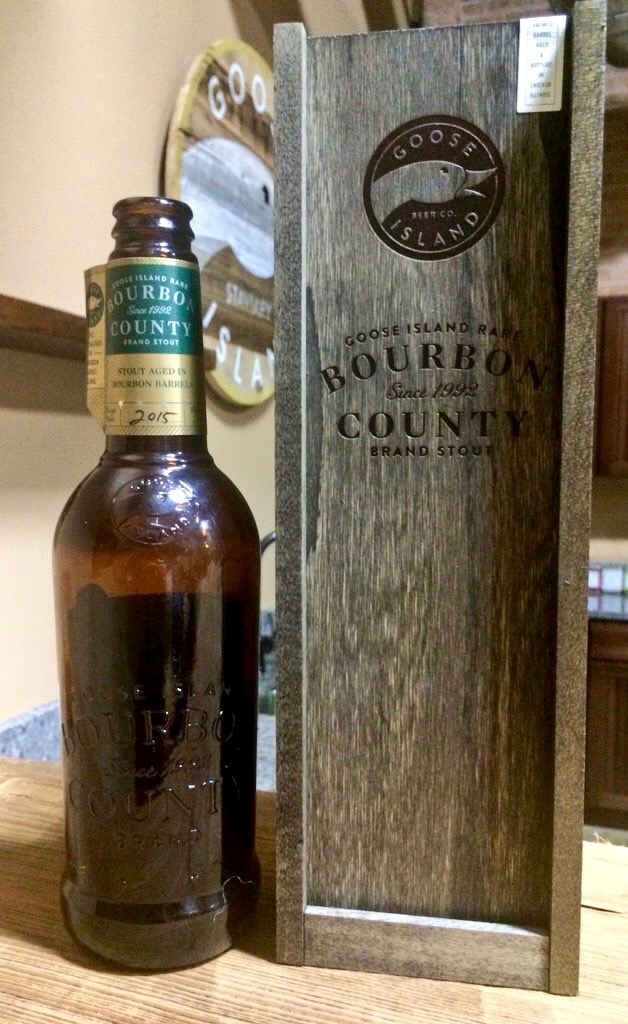 A bottle of 2015 Goose Island Rare Bourbon County Brand Stout at Goose Island Barrel Warehouse