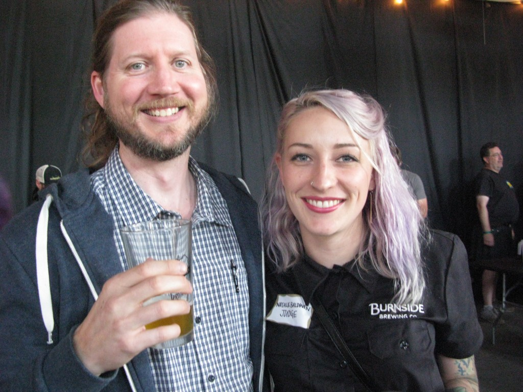 Alan Taylor with Burnside Brewing's Natalie Rose Baldwin at the recent Pro-Am Beer Fest. FoystonFoto