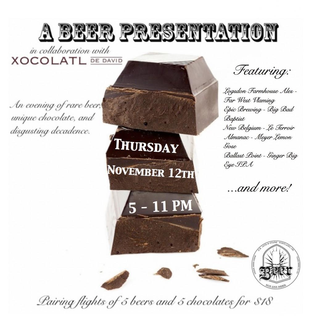 Beer and Chocolate Pairing with David Briggs of Xocolatl de David at Beer