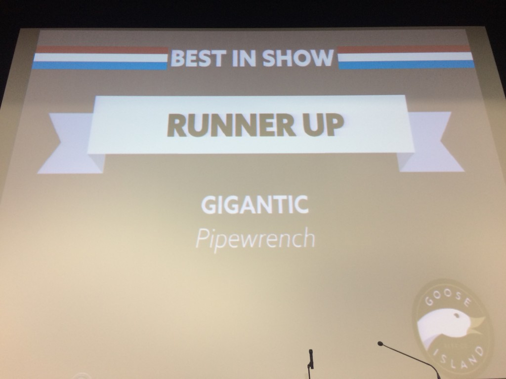 Best In Show Runner Up, Gigantic Brewing Pipewrench