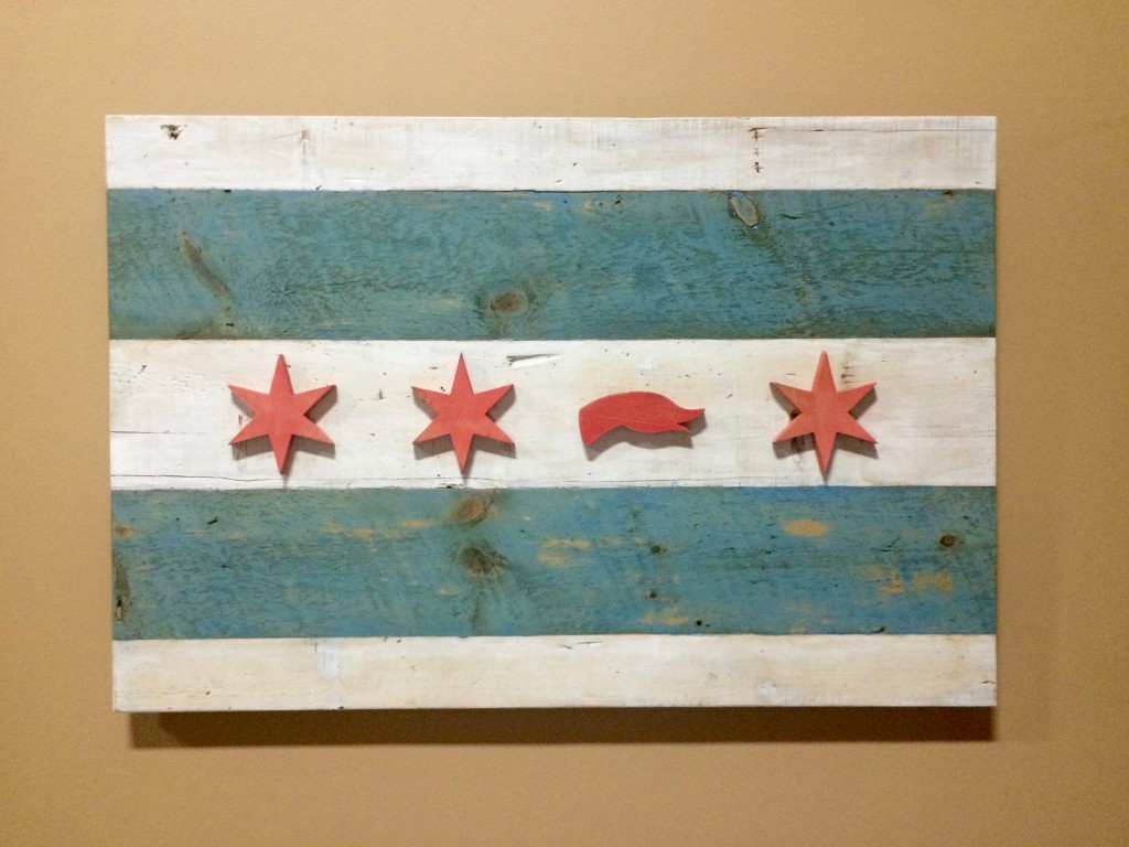 Goose Island modified City of Chicago Flag at Goose Island Barrel Warehouse