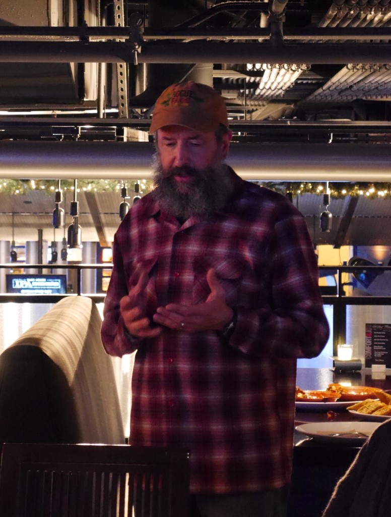 Rogue brewmaster John Maier discussing Rogue Spruce Tip IPA at Yard House in Portland, OR (photo by Cat Stelzer)
