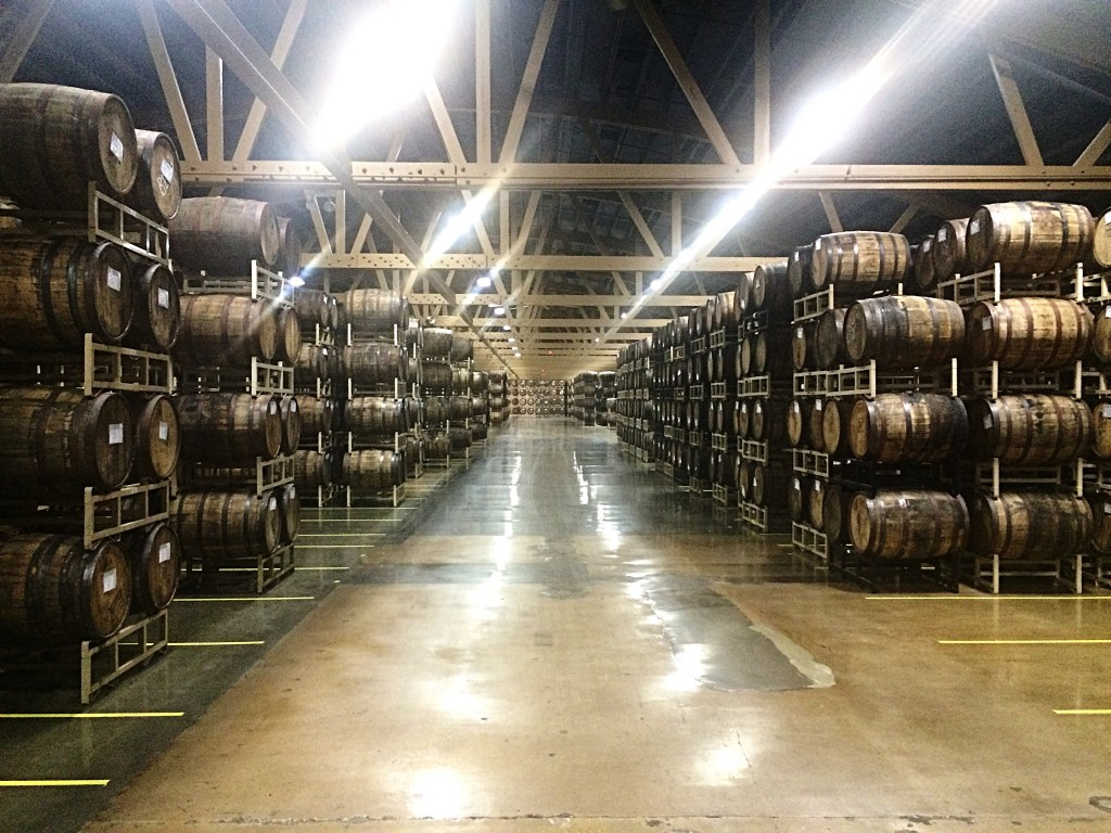 Rows and rows of barrels at Goose Island Barrel Warehouse