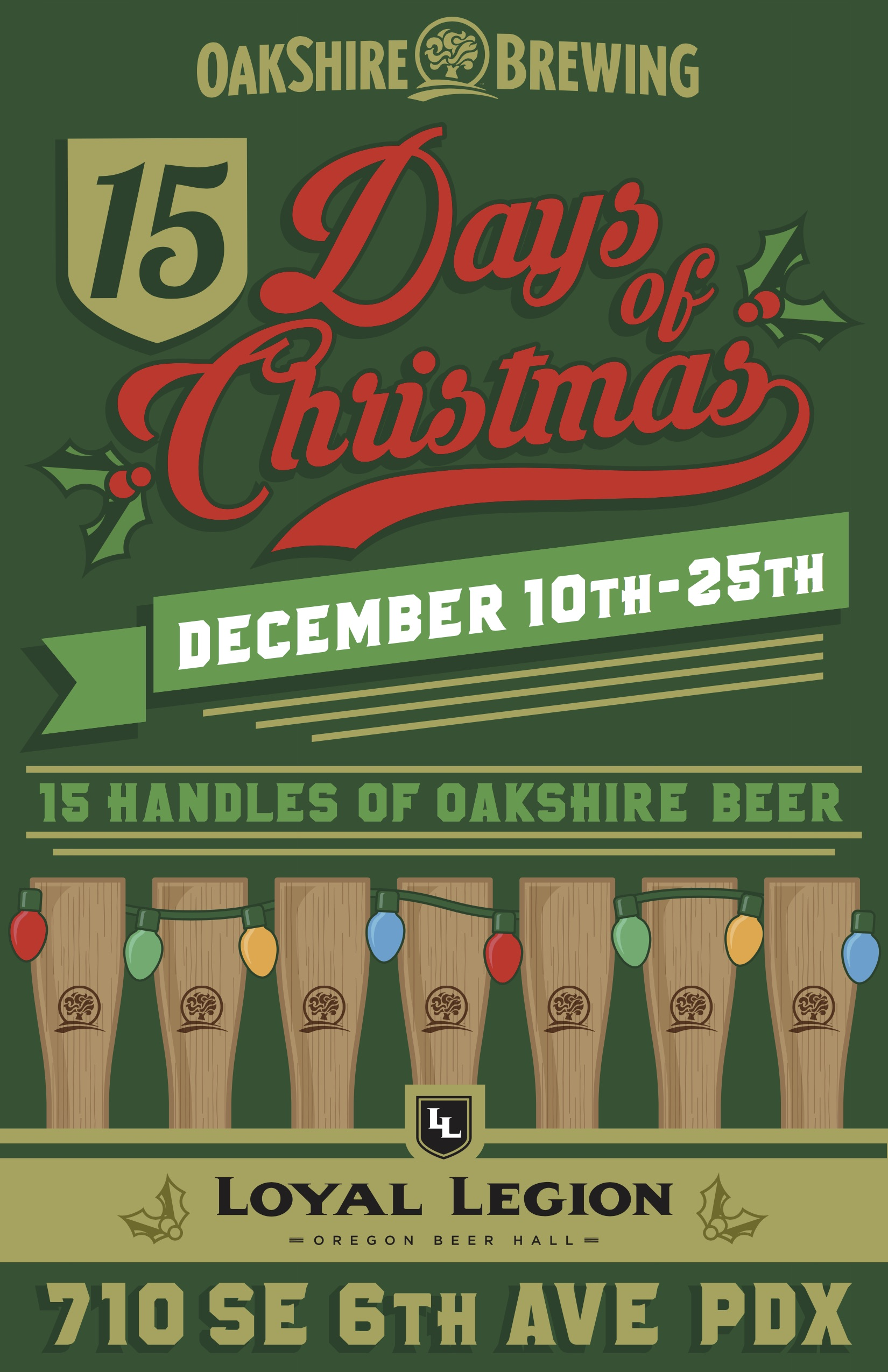 15 Days of Christmas with 15 Handles of Oakshire Beer at Loyal Legion