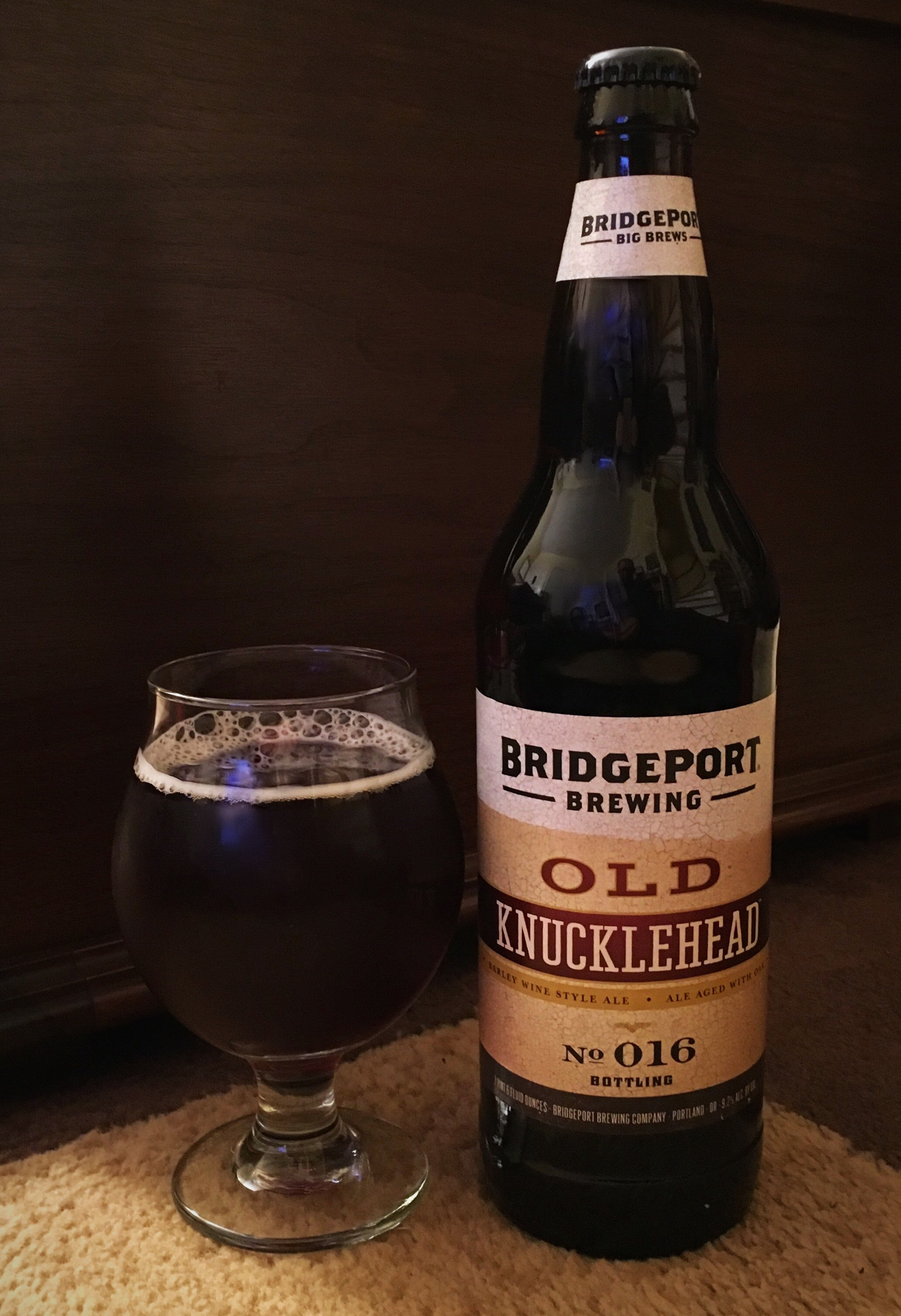 2015 BridgePort Old Knucklehead No 016 Bottle and Pour