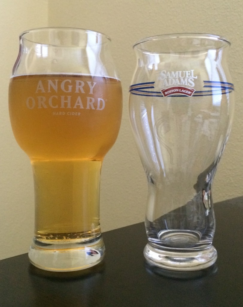 Angry Orchard Cider Glass compared to Samuel Adams Lager Glass