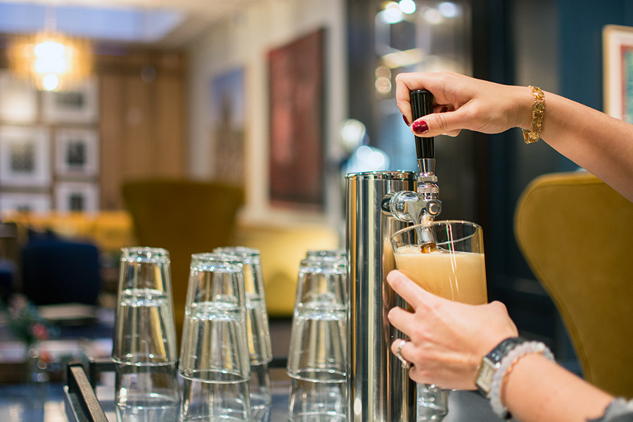 Hotel Lucia guests can now enjoy a Portland-brewed craft beer in the newly renovated lobby of the hotel. What a great way to acknowledge our thriving beer culture. (Photo credit: Hotel Lucia)