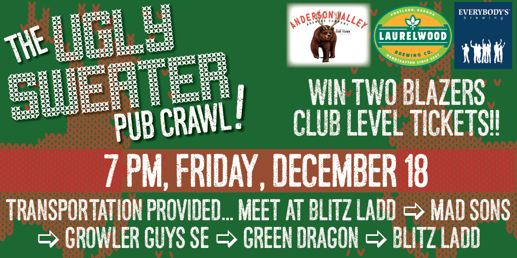 Southeast Portland Ugly Sweater Pub Crawl With Laurelwood, Anderson Valley and Everybody's Brewing