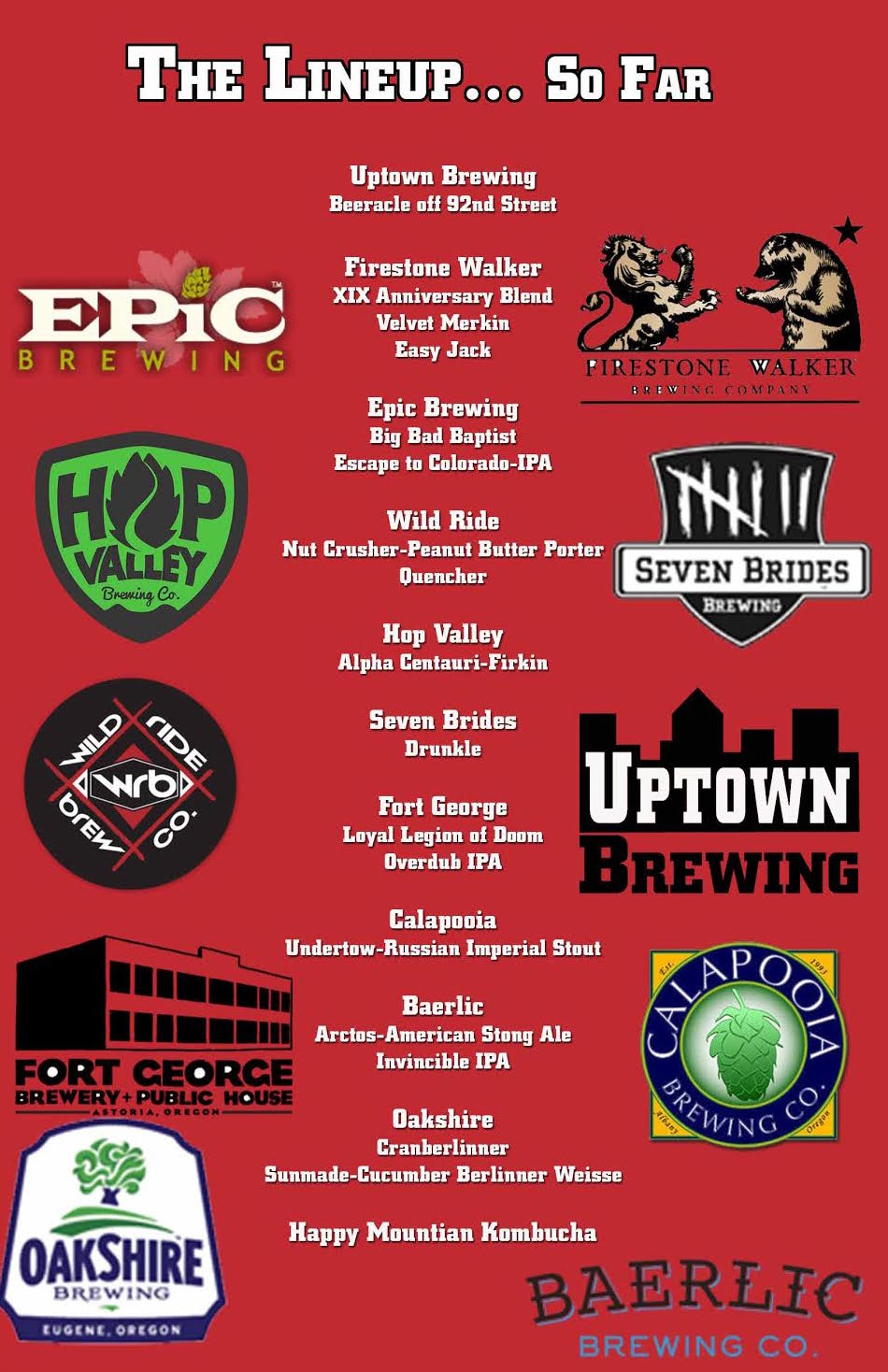 Uptown Market 4th Anniversary Beer List