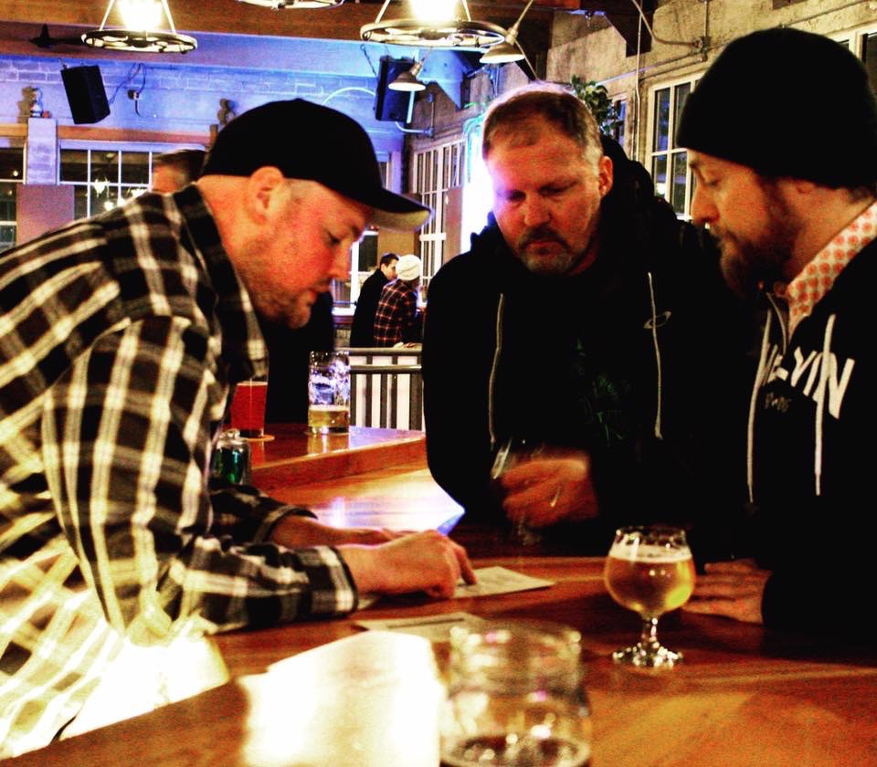 2016 Fort George 3-Way IPA Collaborators, Chris Nimz, Tyler Brown, and Jeremy Tofte (image courtesy of Fort George Brewery's Brad Blaser)