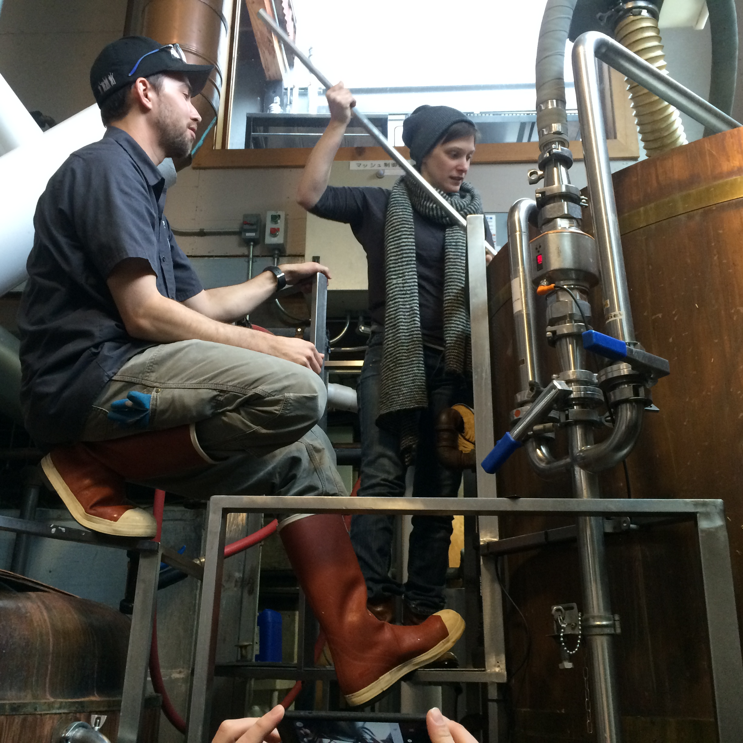 Brewer Nick Poggiali and Kuttemann during the boil. (image courtesy of Everybody's Brewing)