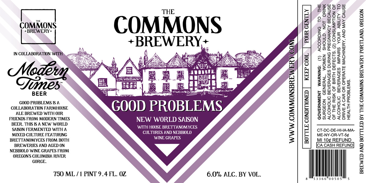 The Commons Brewery and Modern Times Beer Good Problems Label