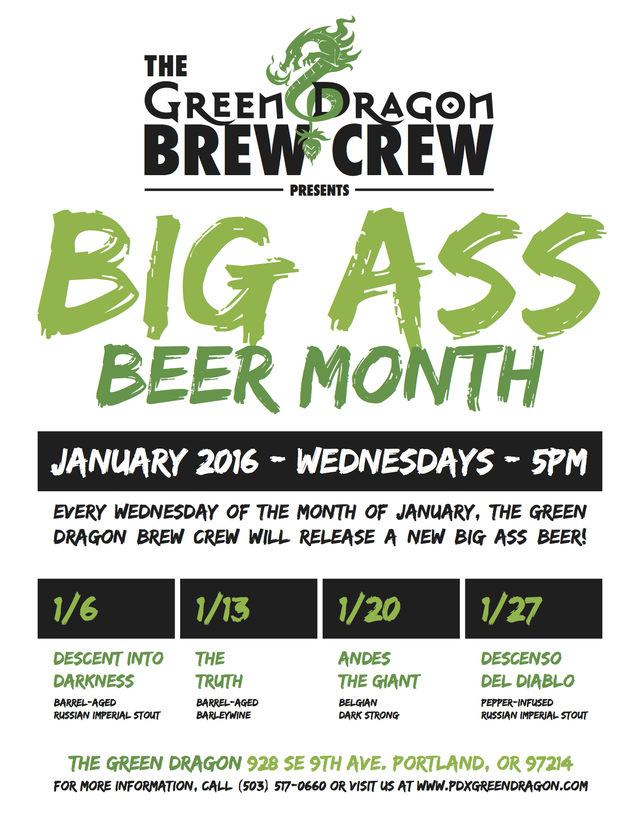 Green Dragon Brew Crew Big Ass Beer Month Poster