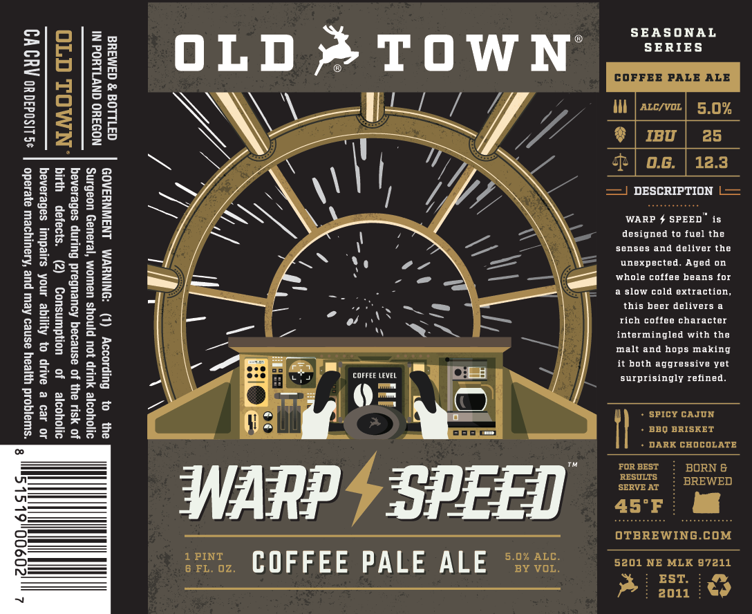 Old Town Brewing Warp Speed Coffee Pale Ale Label