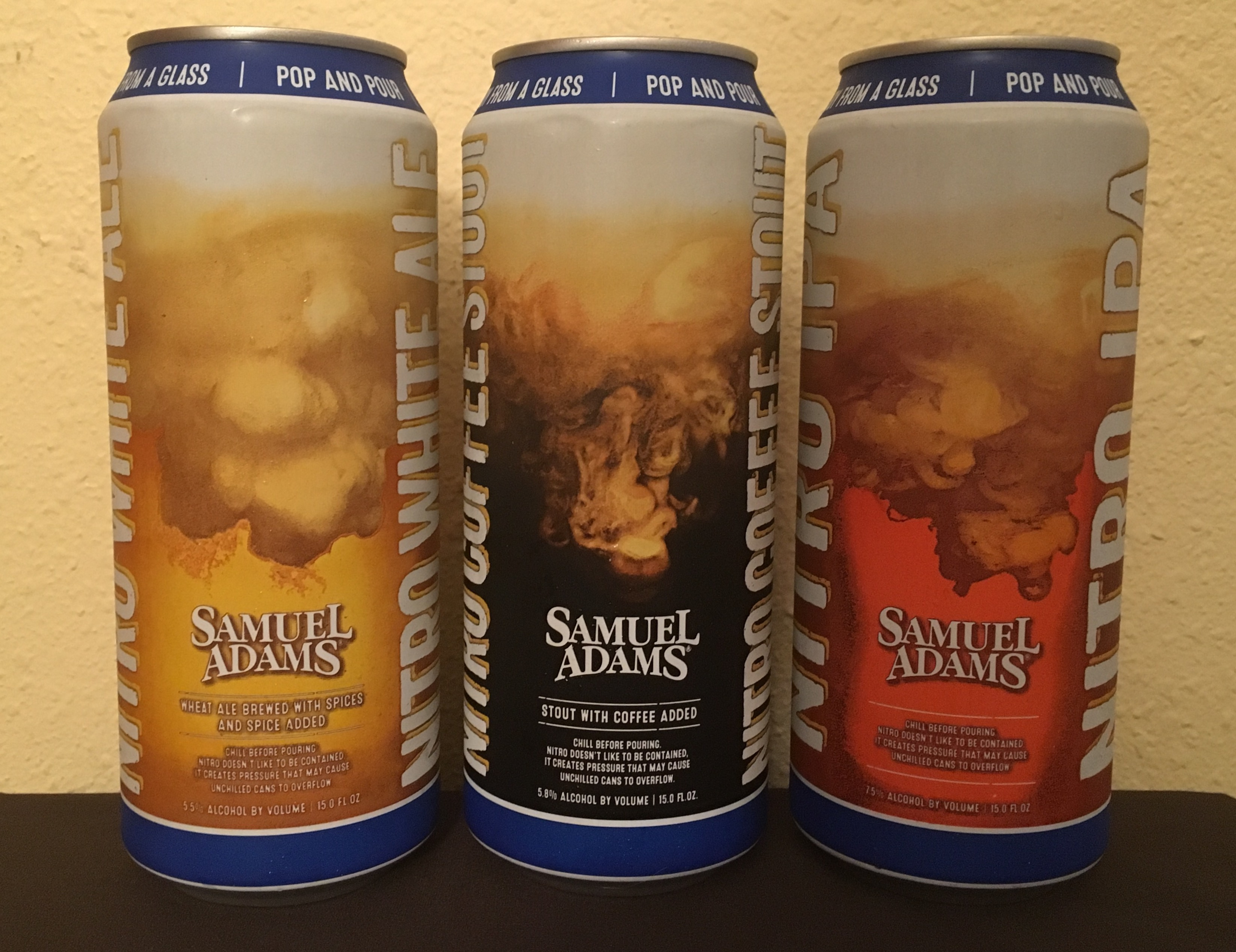 Samuel Adams Nitro Project Lineup of Nitro White Ale, Nitro Coffee Stout and Nitro IPA