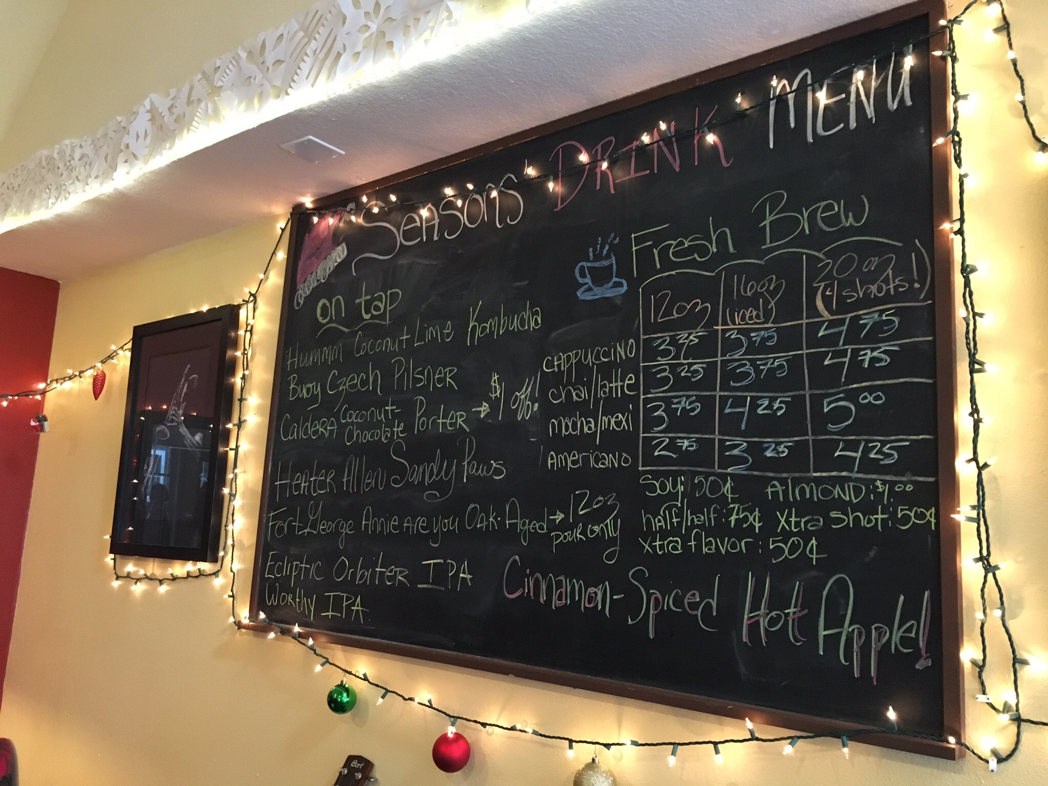 Beer Menu at Seasons Cafe in Cannon Beach, OR (photo by Cat Stelzer)