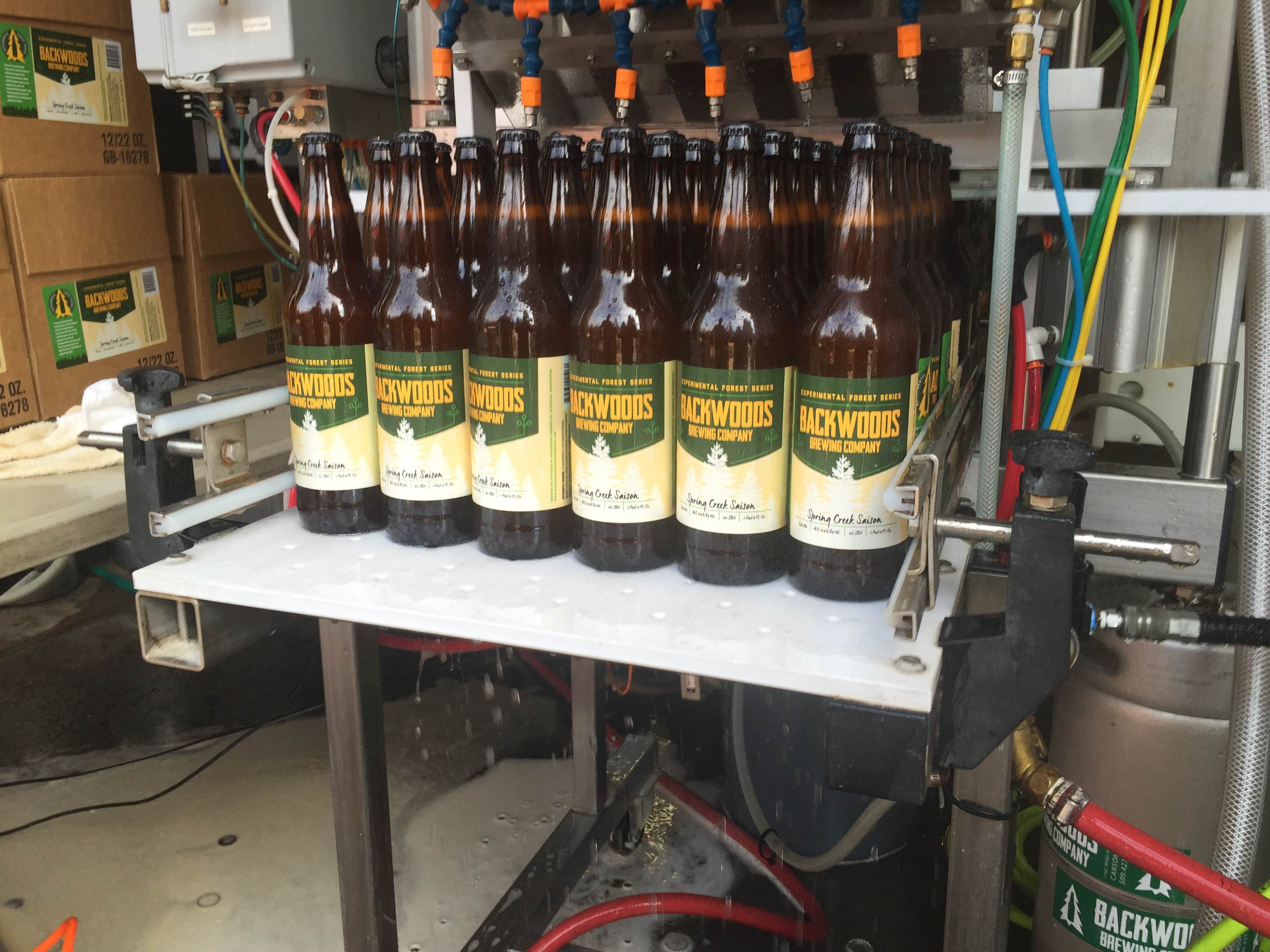 Bottling Spring Creek Saison (image courtesy of Backwoods Brewing)