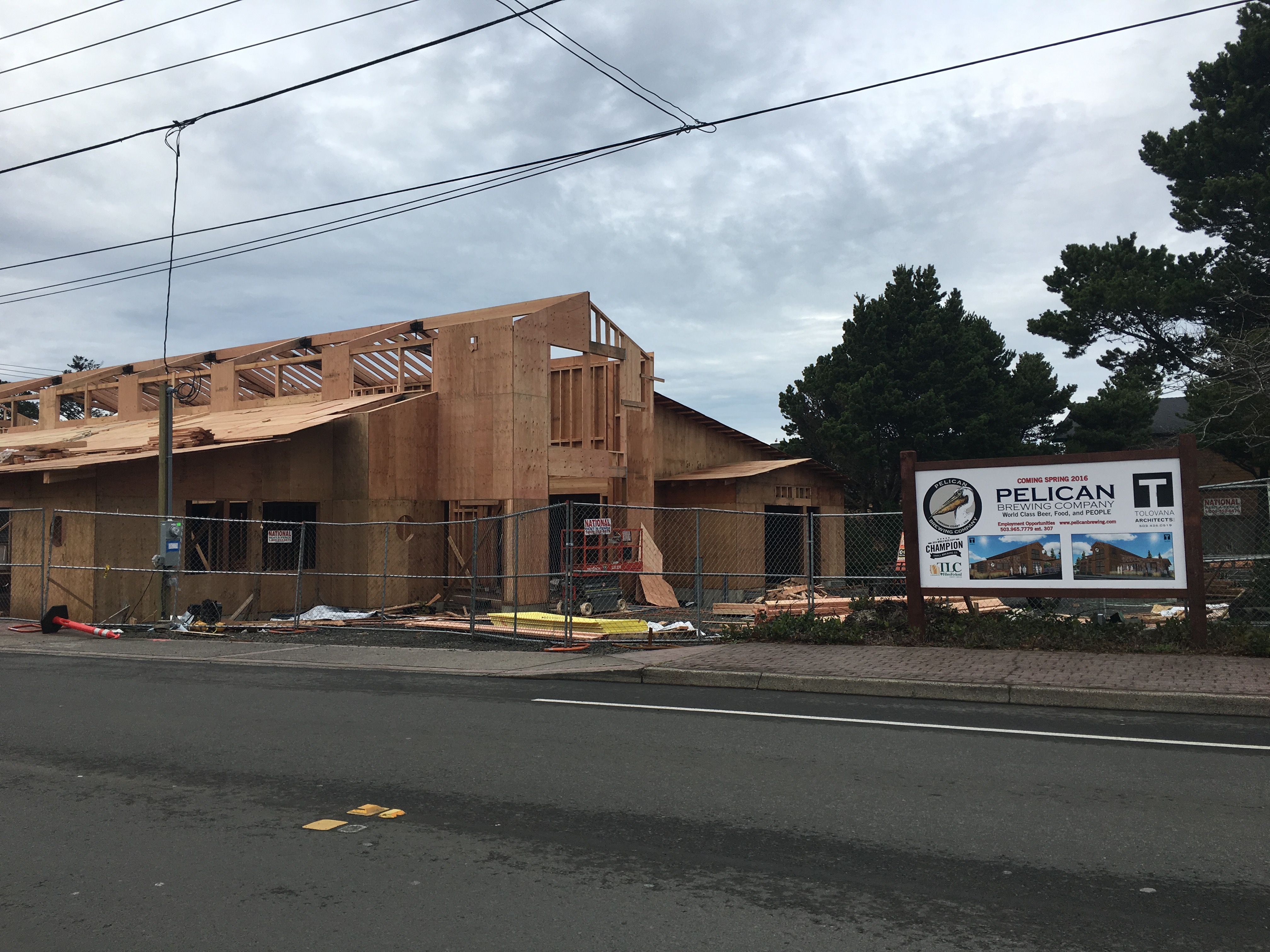 Construction of the new Pelican Brewing in Cannon Beach, OR