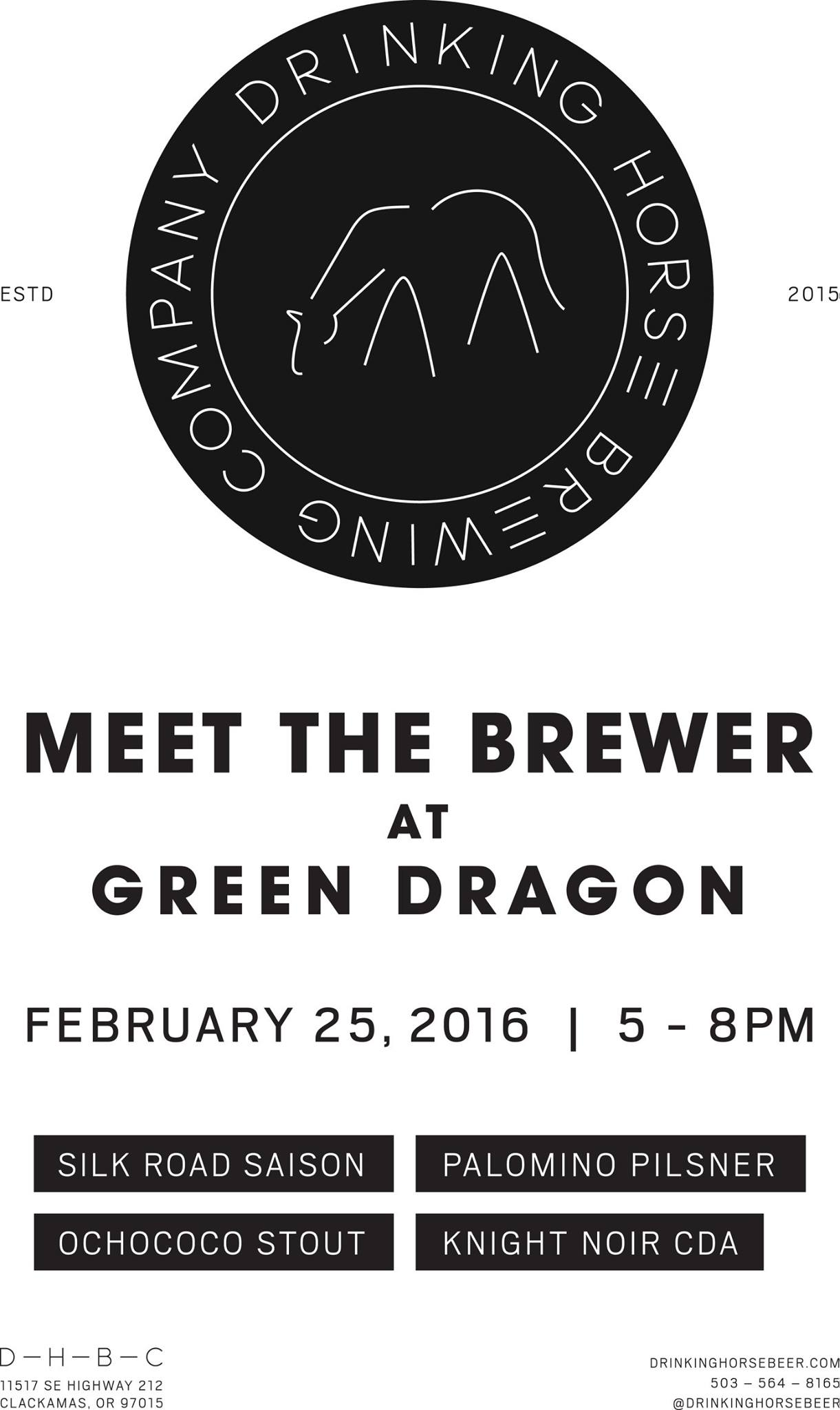 Drinking Horse Meet the Brewer at Green Dragon