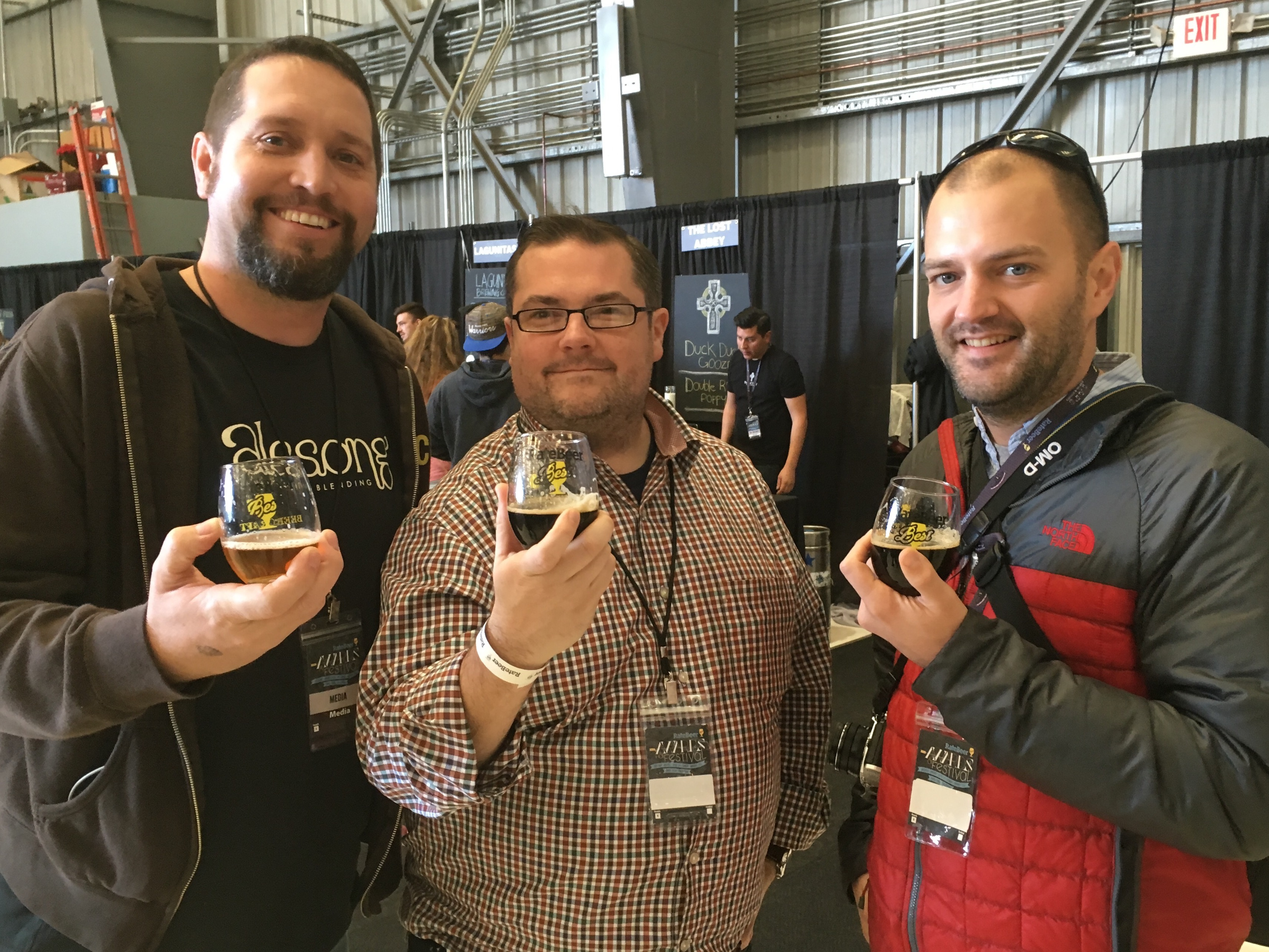 Matt Van Wyk of Alesong Brewing & Blending and John Holl & Jon Page of All About Beer Magazine at 2016 RateBeer Best Festival.