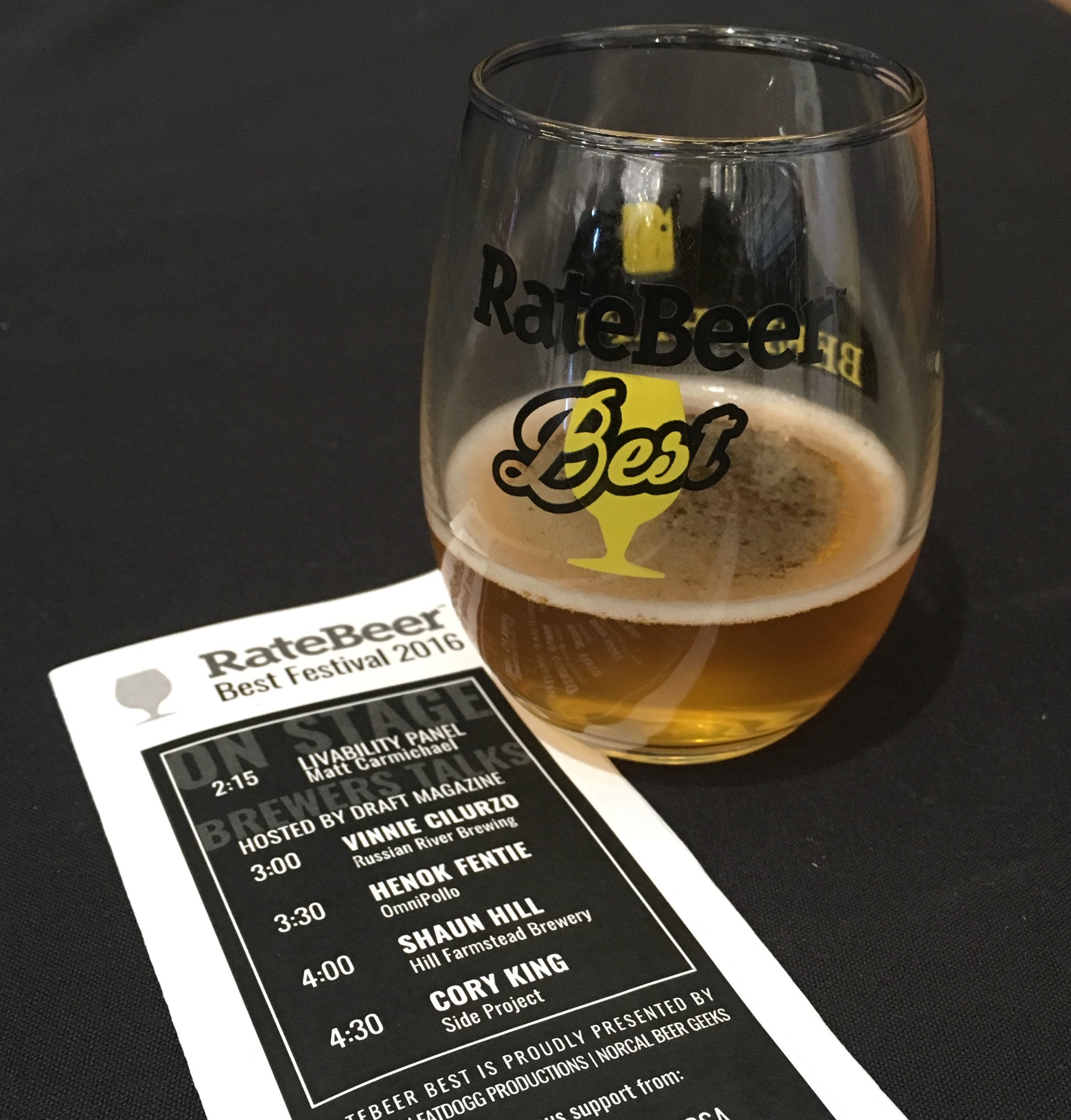 2016 RateBeer Best Festival glass pour and program.
