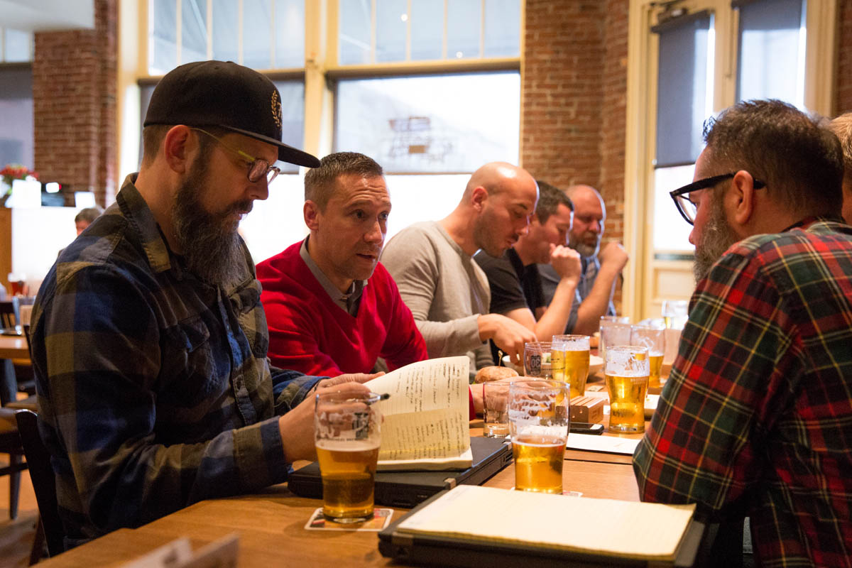 Widmer Brothers First Star recipe development with Portland Timbers' Caleb Porter in red, surrouned by Widmer Brothers Brewing's Corey Blodgett (left) and former Widmer brewer Ben Dobler (right). (image courtesy of Widmer Brothers Brewing)