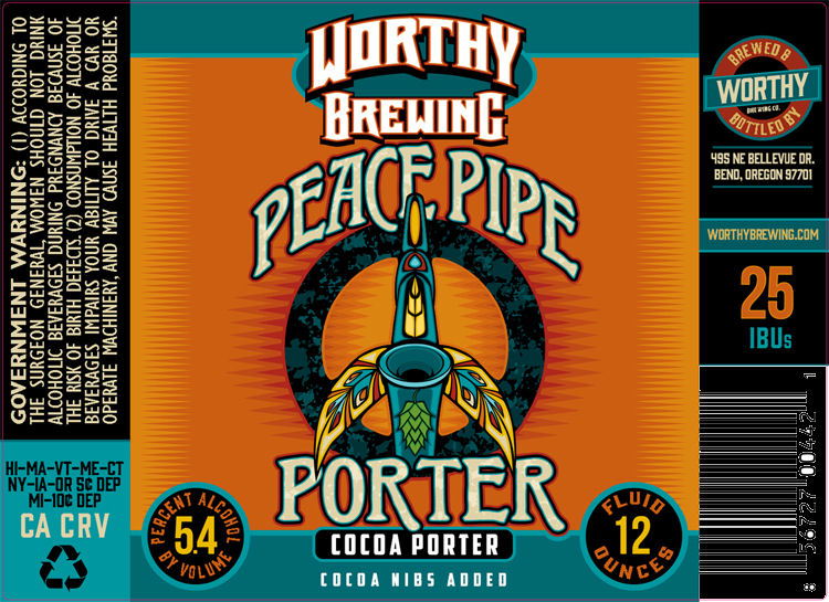 Worthy Brewing Company Peace Pipe Porter Label