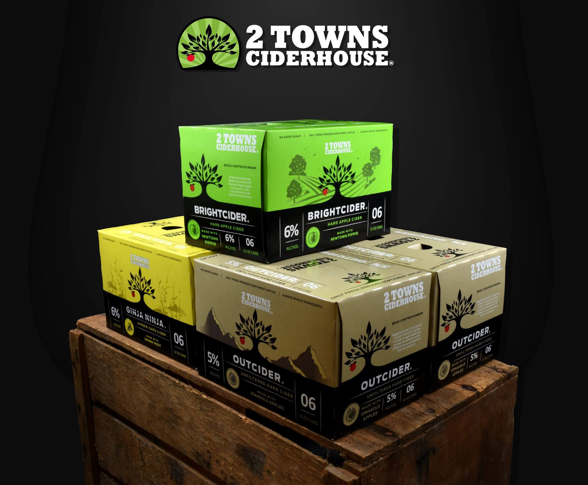 2 Towns Cider 6 Packs (image courtesy of 2 Towns Ciderhouse)