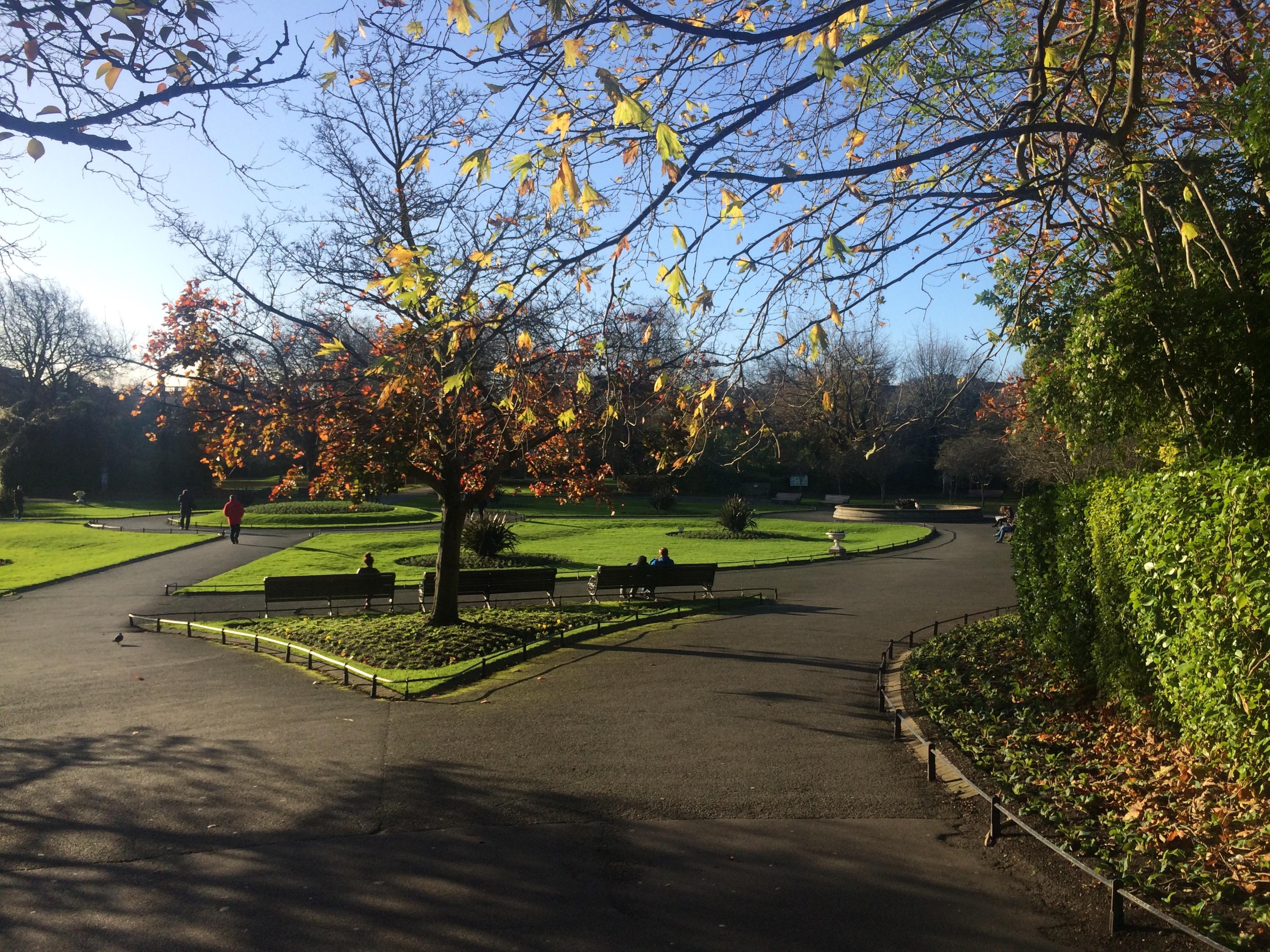 A view inside Saint Stephen's Green Park in Dublin, Ireland.