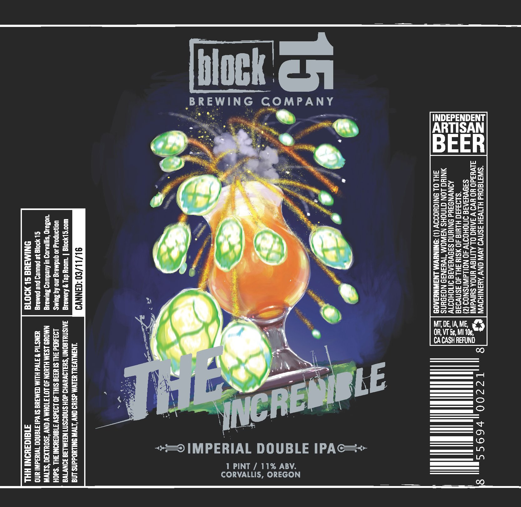 Block 15 The Incredible Imperial Double IPA Label