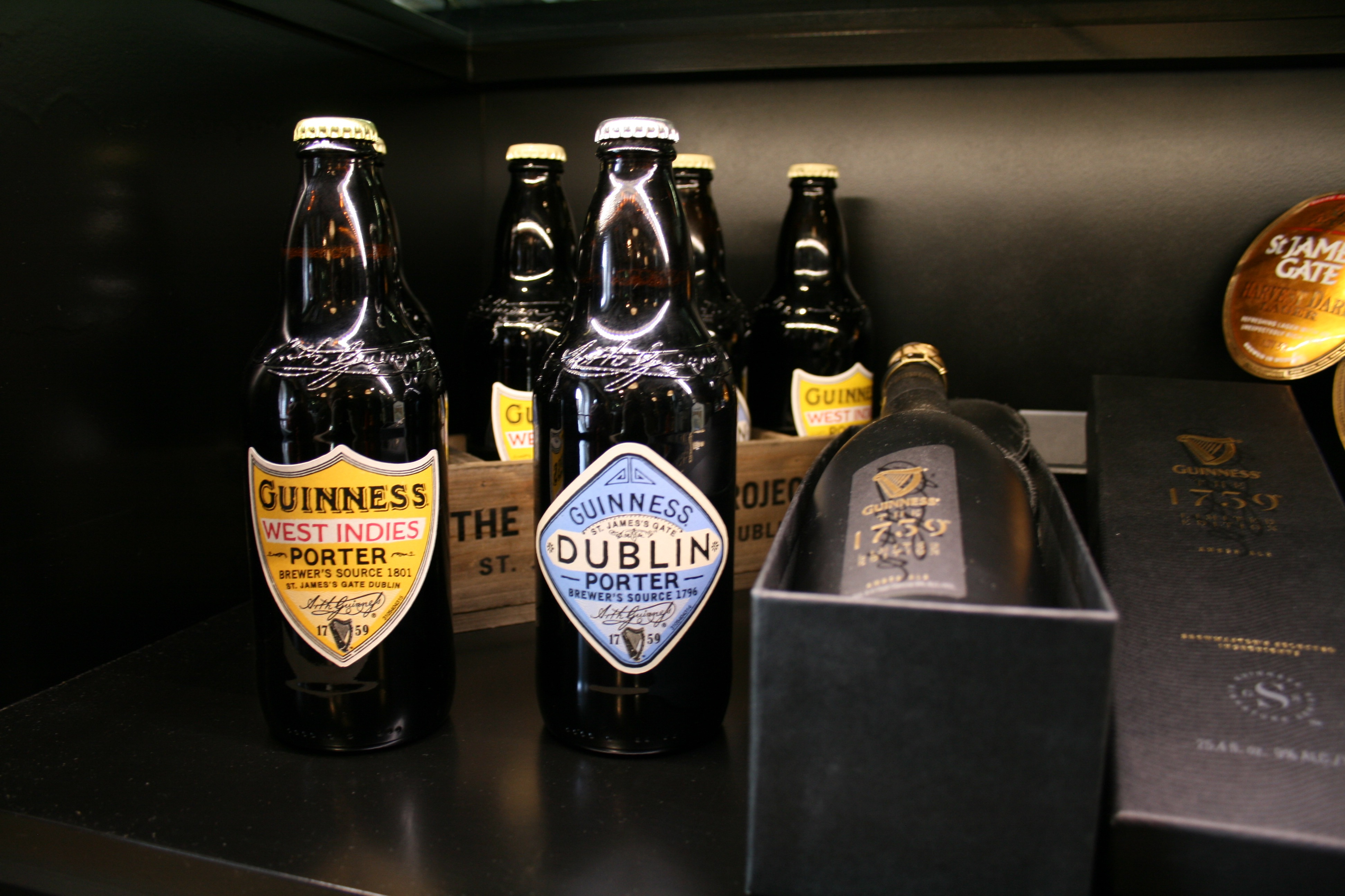 Bottles of Guinness West Indies Porter and Guinness Dublin Porter inside the Guinness Archives alongside Guinness The 1759 bottle.