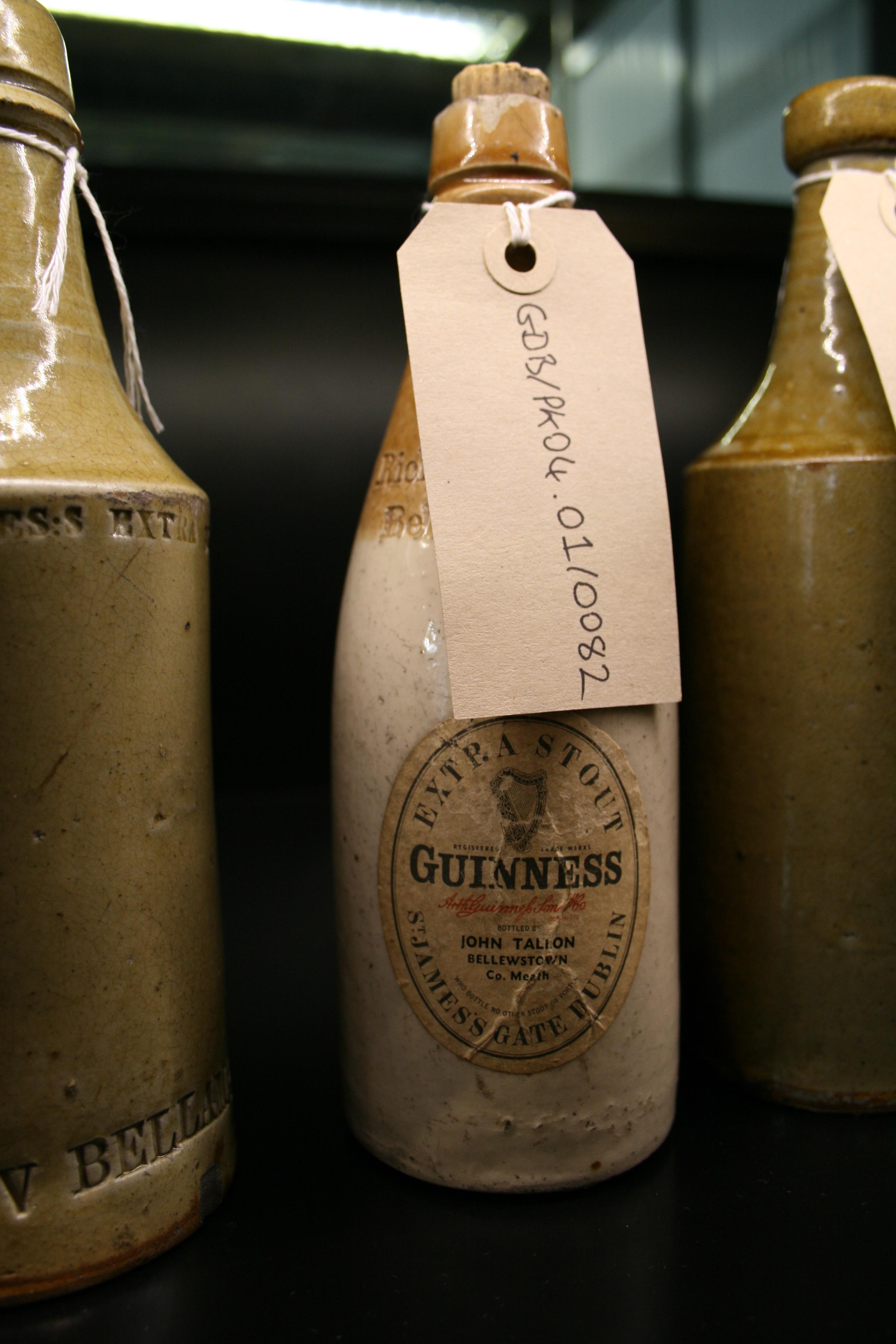 Ceramic Guinness bottle inside the Guinness Archives.