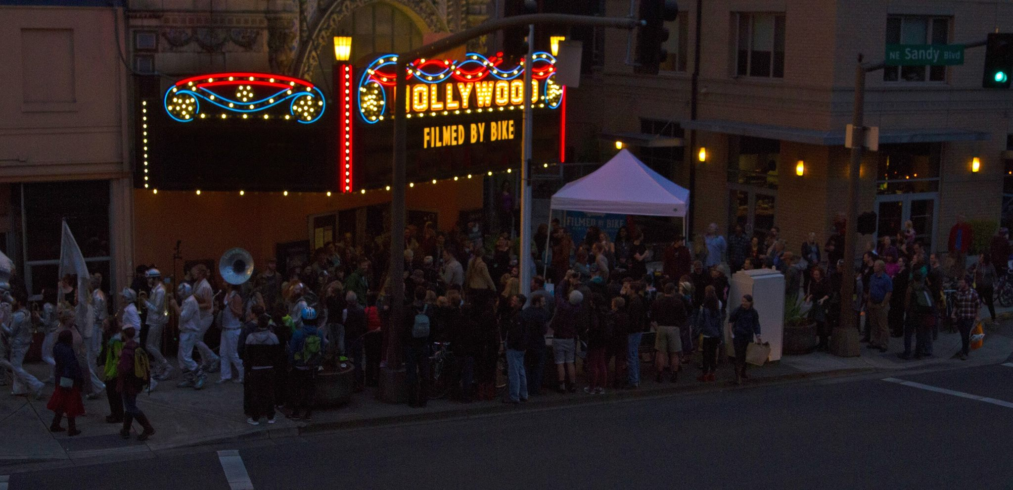 Filmed By Bike crowd outside the Hollywood Theatre in 2015. (image courtesy of Filmed By Bike)