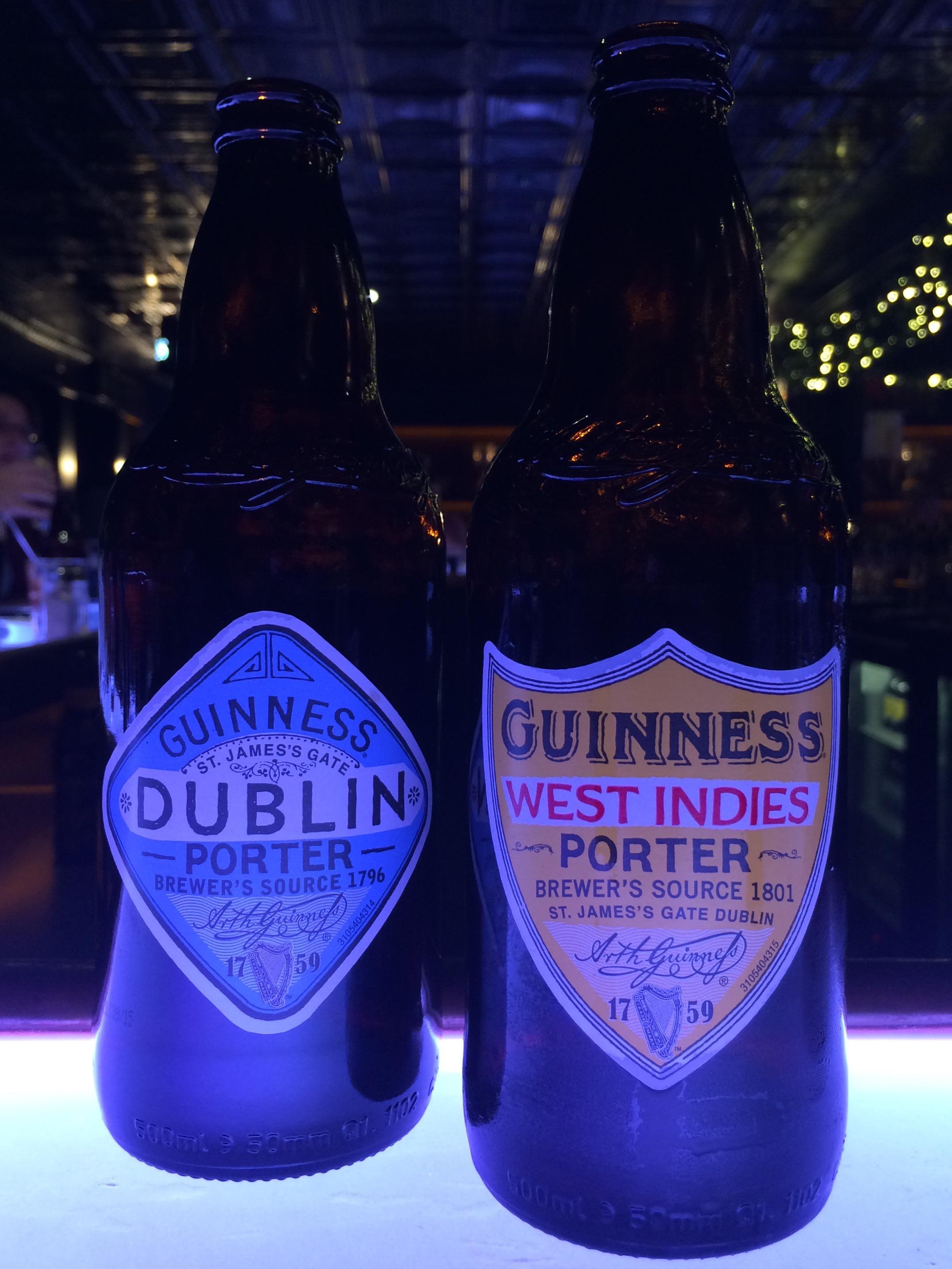 Guinness Dublin Porter and Guinness West Indies Porter inside the Guinness Connoisseur Bar.