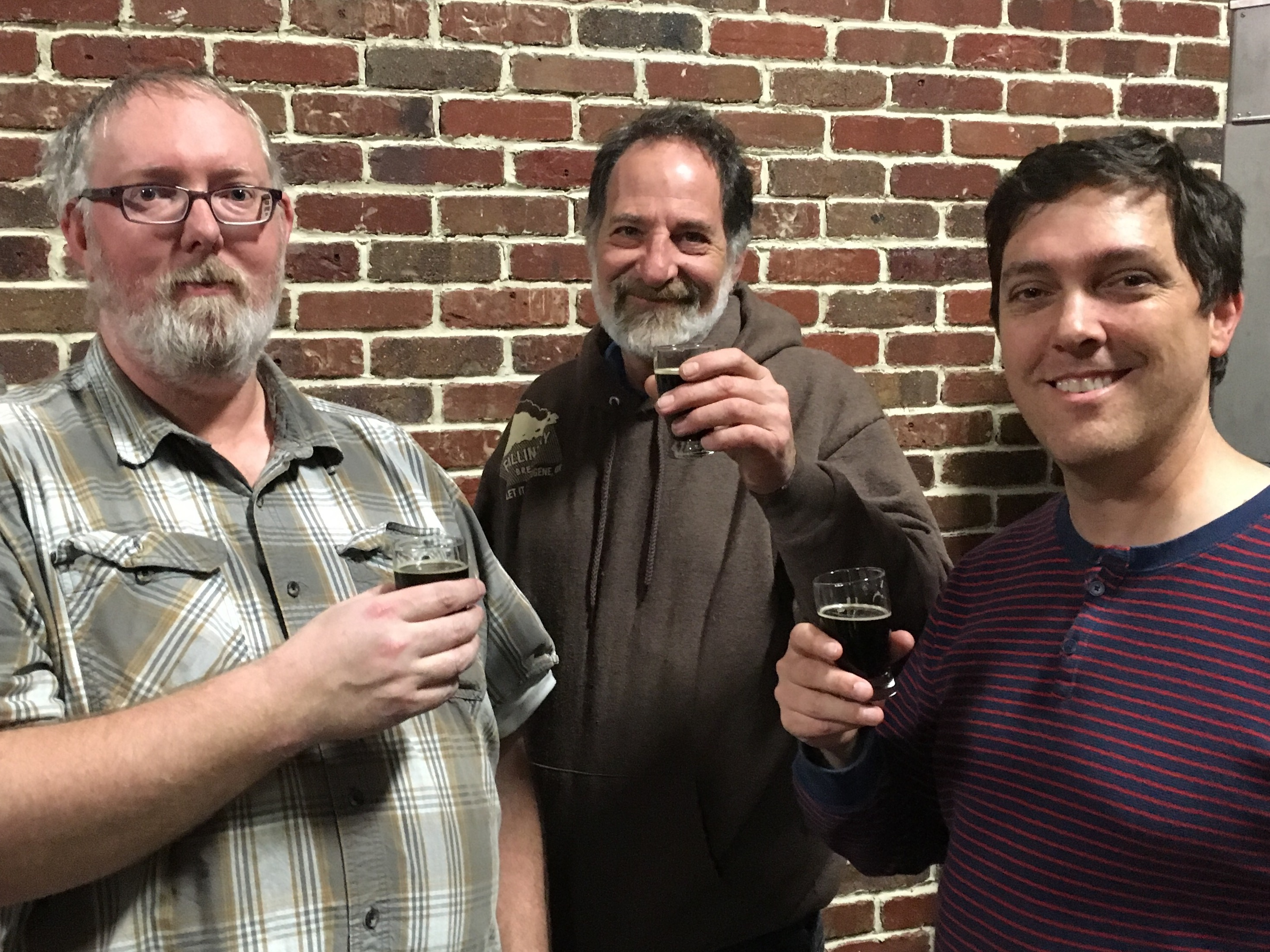 John Lovegrove and Justin Kagan makers of Badbeard's Coffee Stout along with Baker's Dozen founder Brian Yaeger.