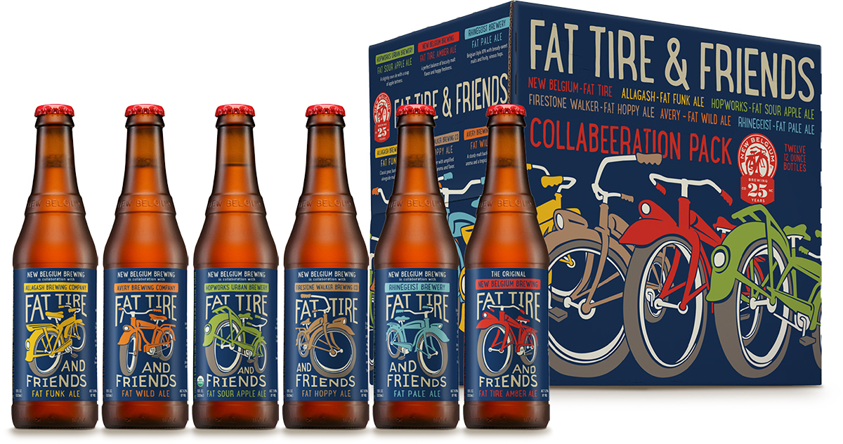 "New Belgium Brewing Collaborative Fat Tire ""Riff-Pack"" Bottles"