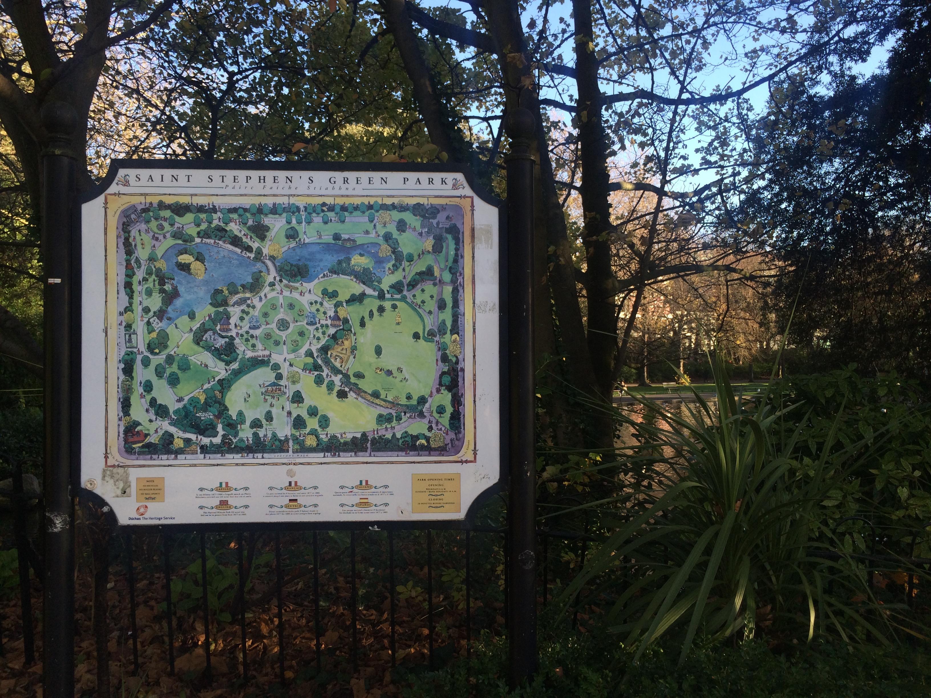 Saint Stephen's Green Park in Dublin, Ireland.