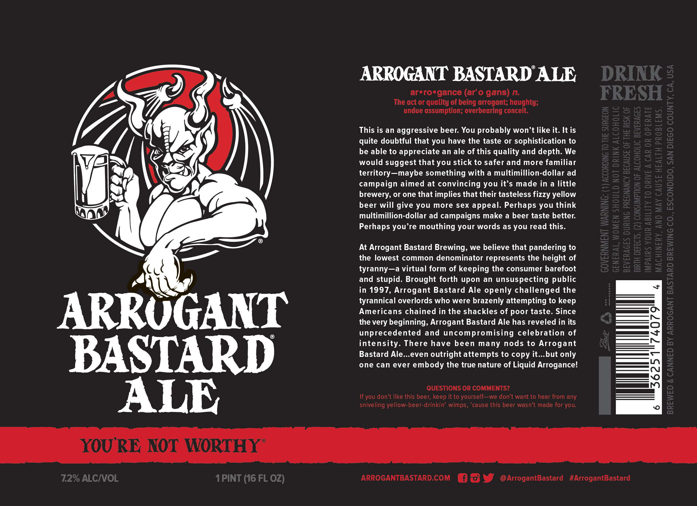 Stone Brewing Has Canned Its Arrogant Bastard Ale