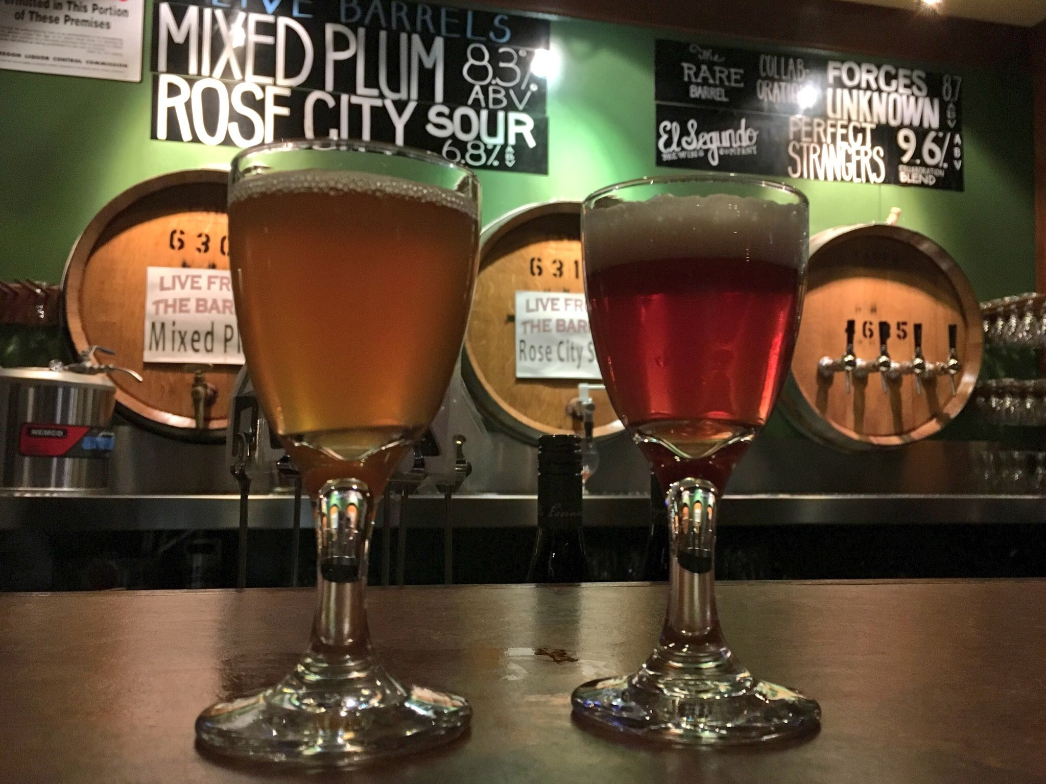 Two tasters at Cascade Brewing Barrel House