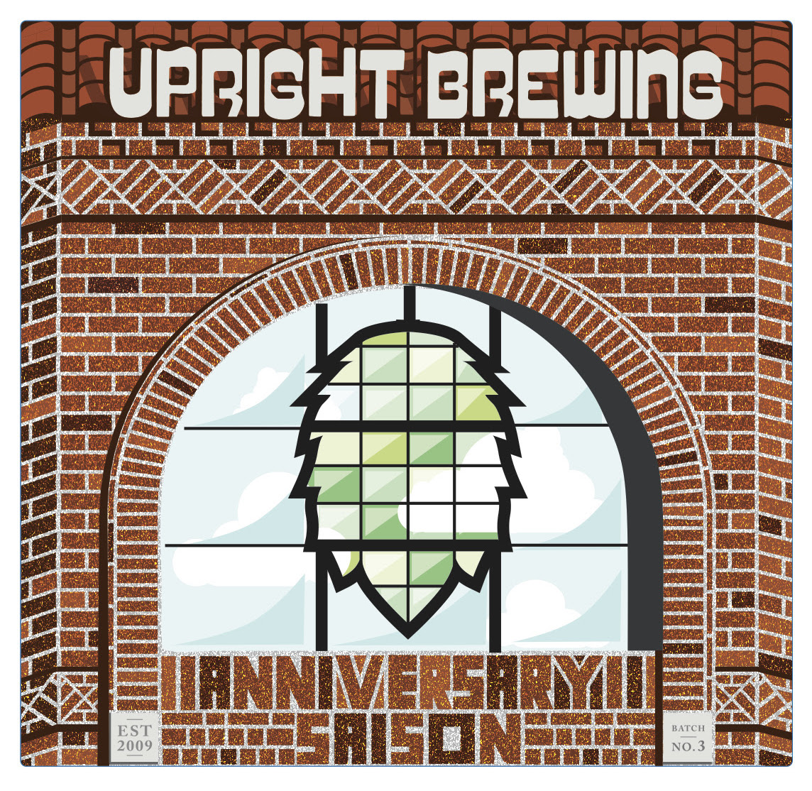 Upright Brewing 9th Anniversary Saison Label