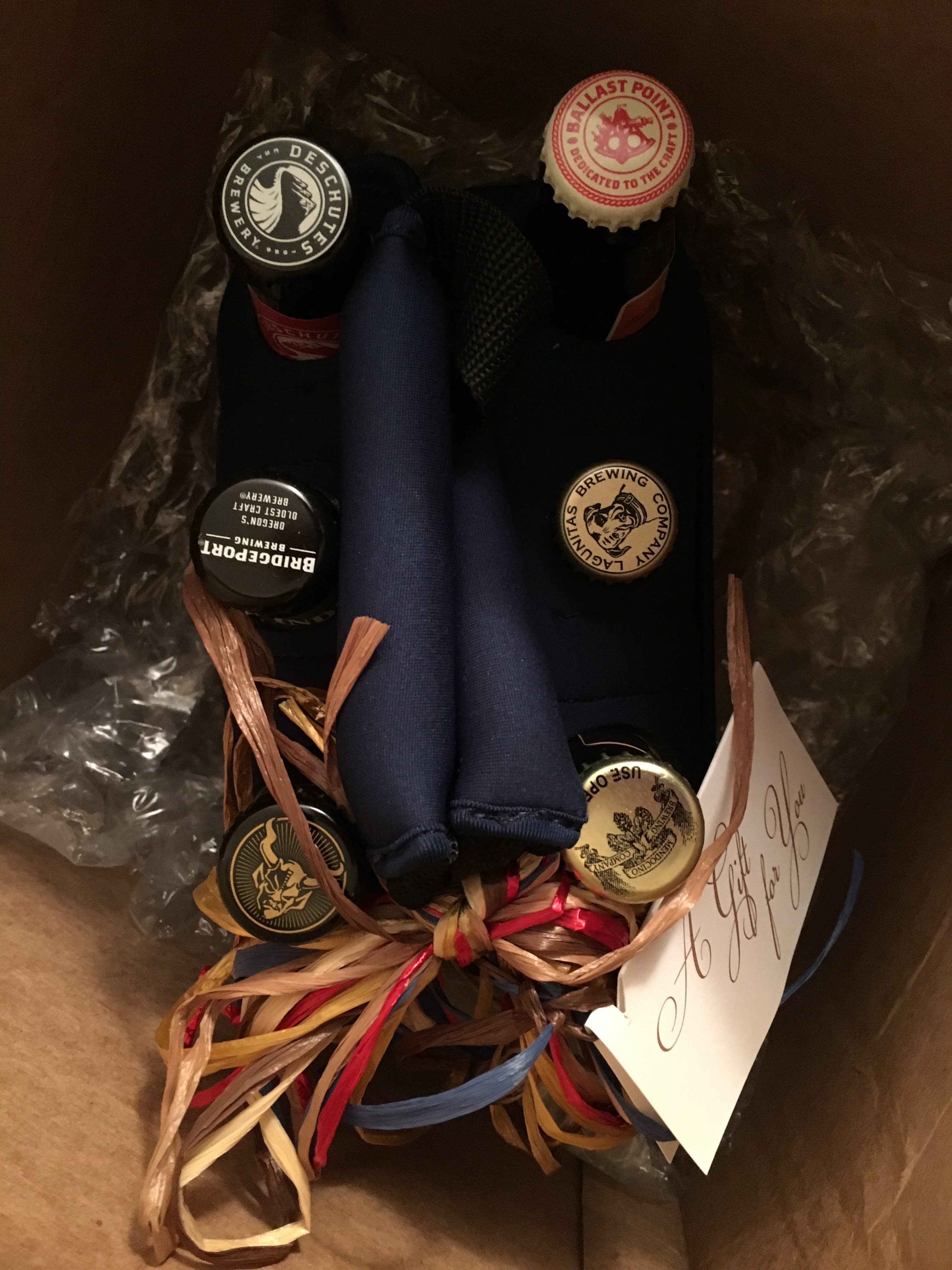 A 6-Pack shipped from Beergifts.com. They offer many different choices of beers for various occasions