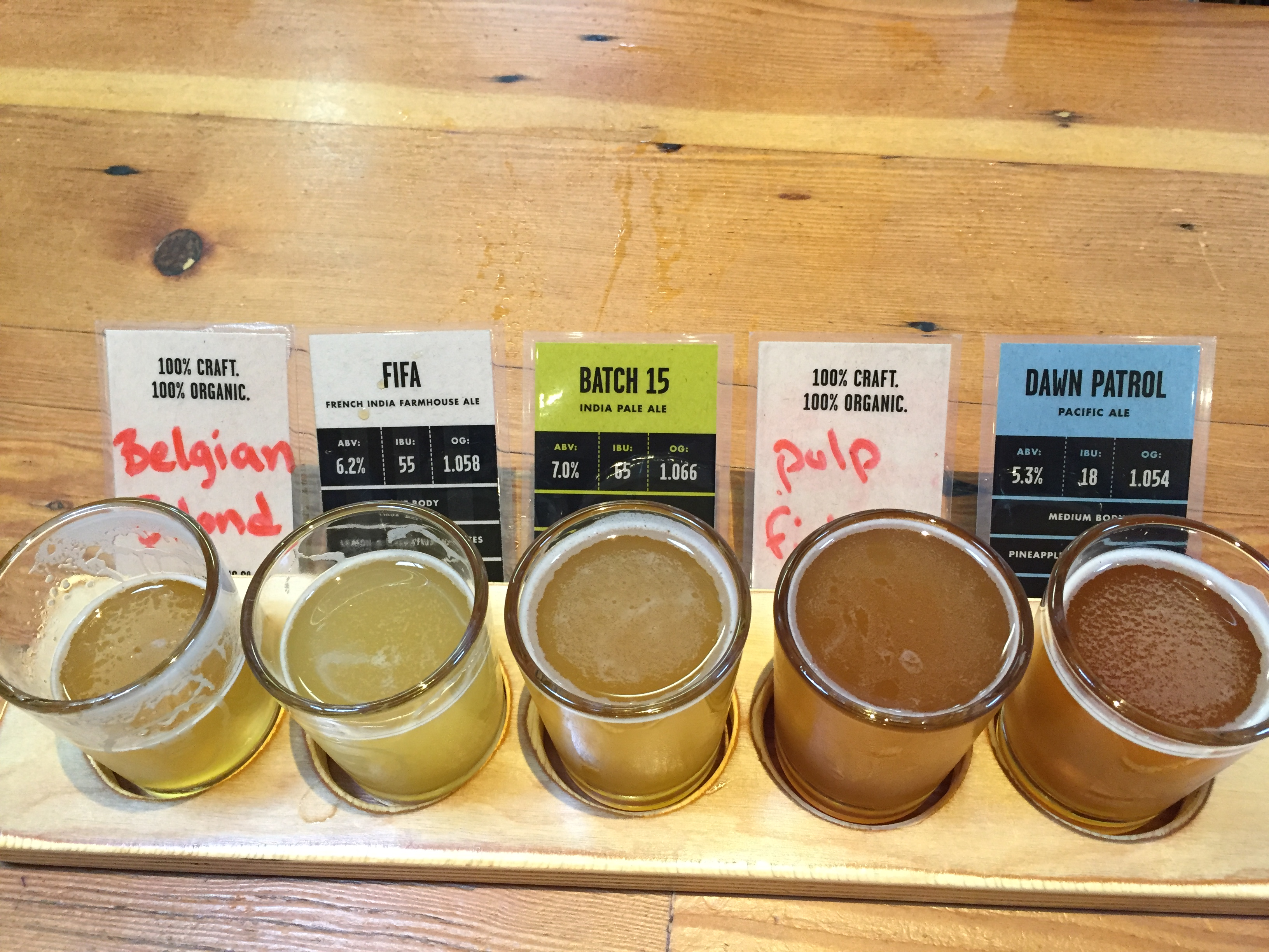 A second round of a taster tray at Aslan Brewing.