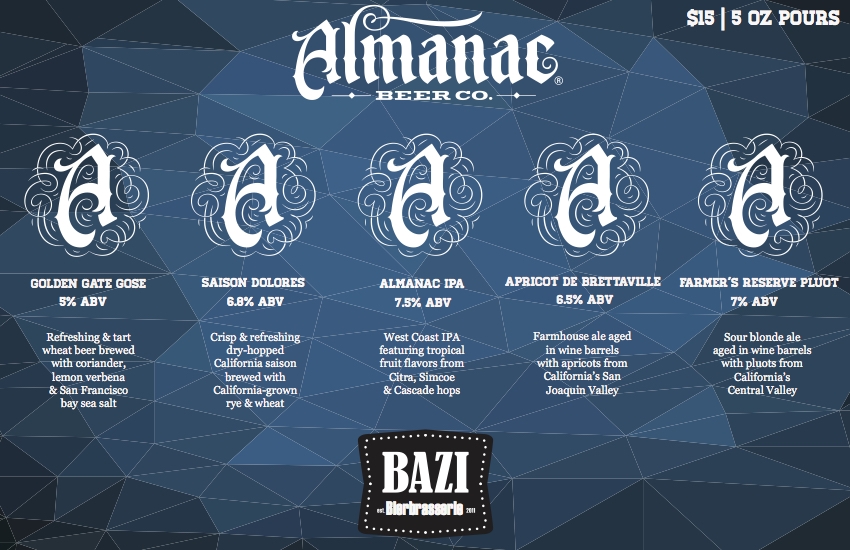 Almanac Tasting Tray at Bazi