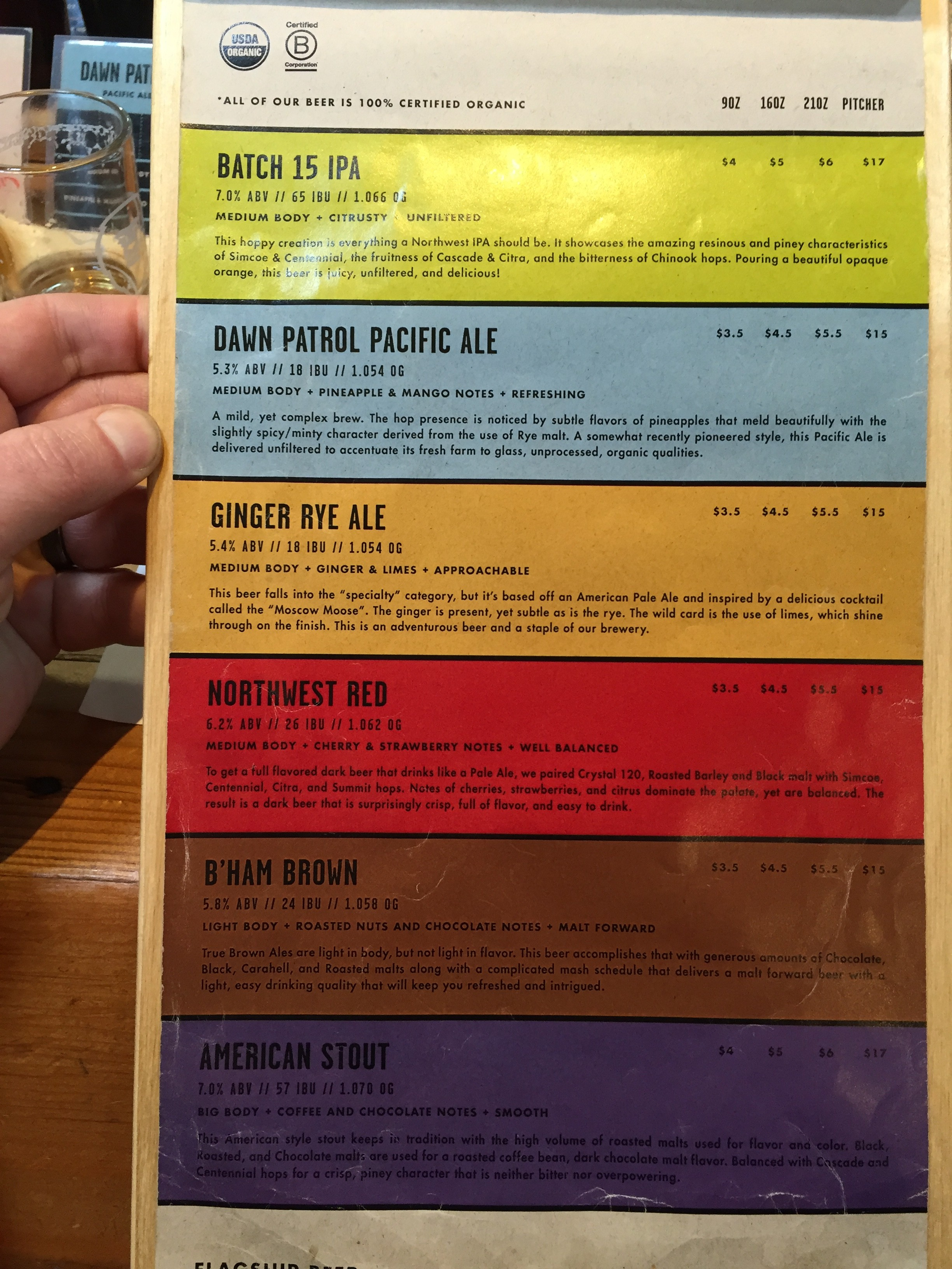 Beer Menu at Aslan Brewing.